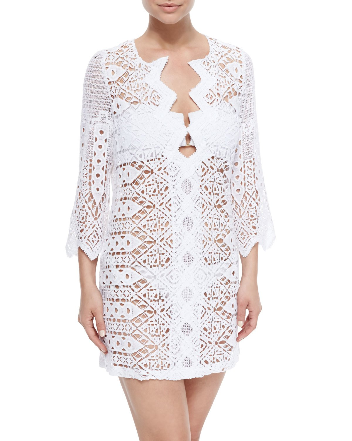 Crochet Cover Up : Miguelina Elliot Crochet Tunic Coverup in White Lyst