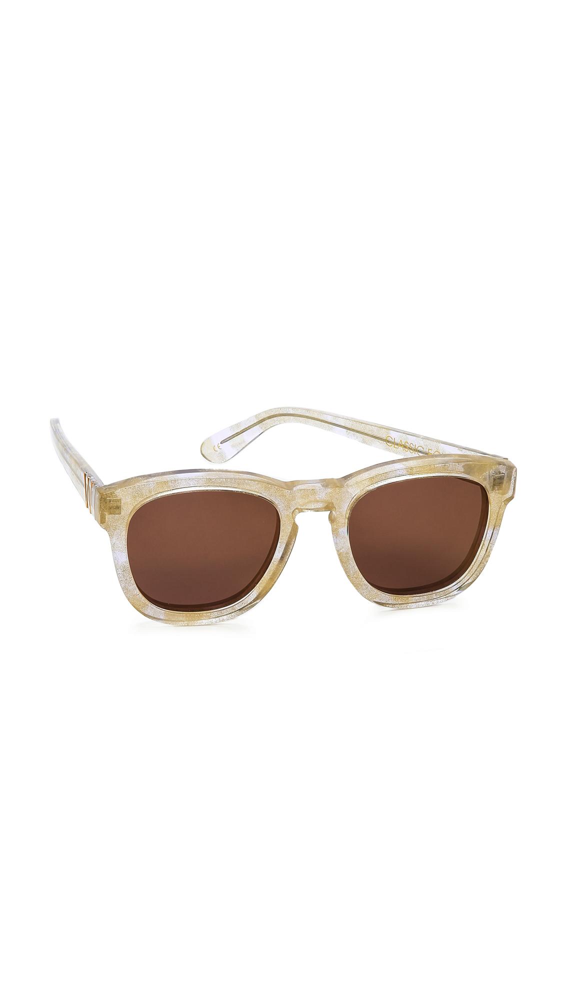 Wildfox Classic Fox Deluxe Sunglasses Pink Purple Mirror