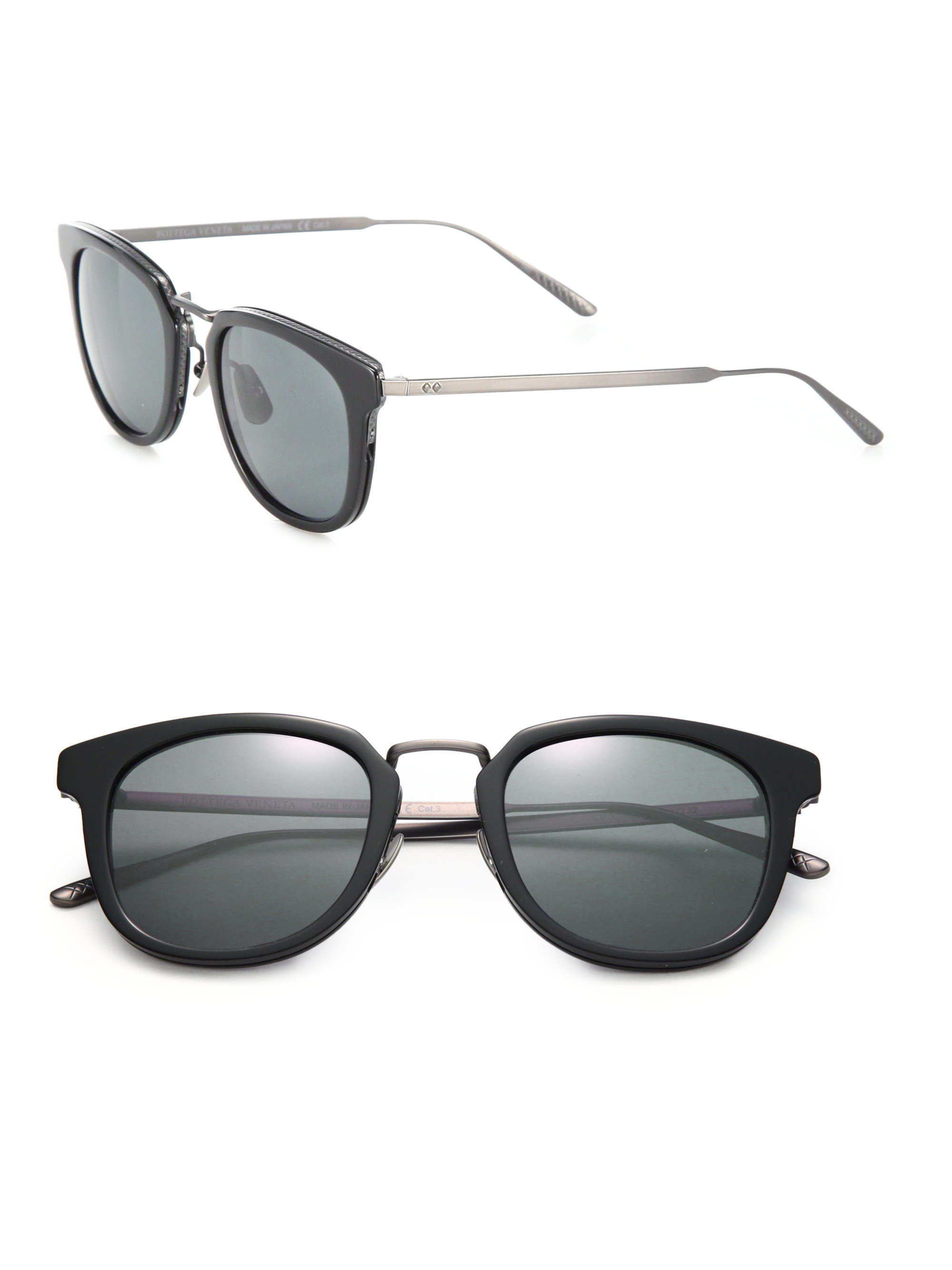 5e9ca59e0 Bottega Veneta 49mm Rectangular Titanium & Acetate Sunglasses in ...