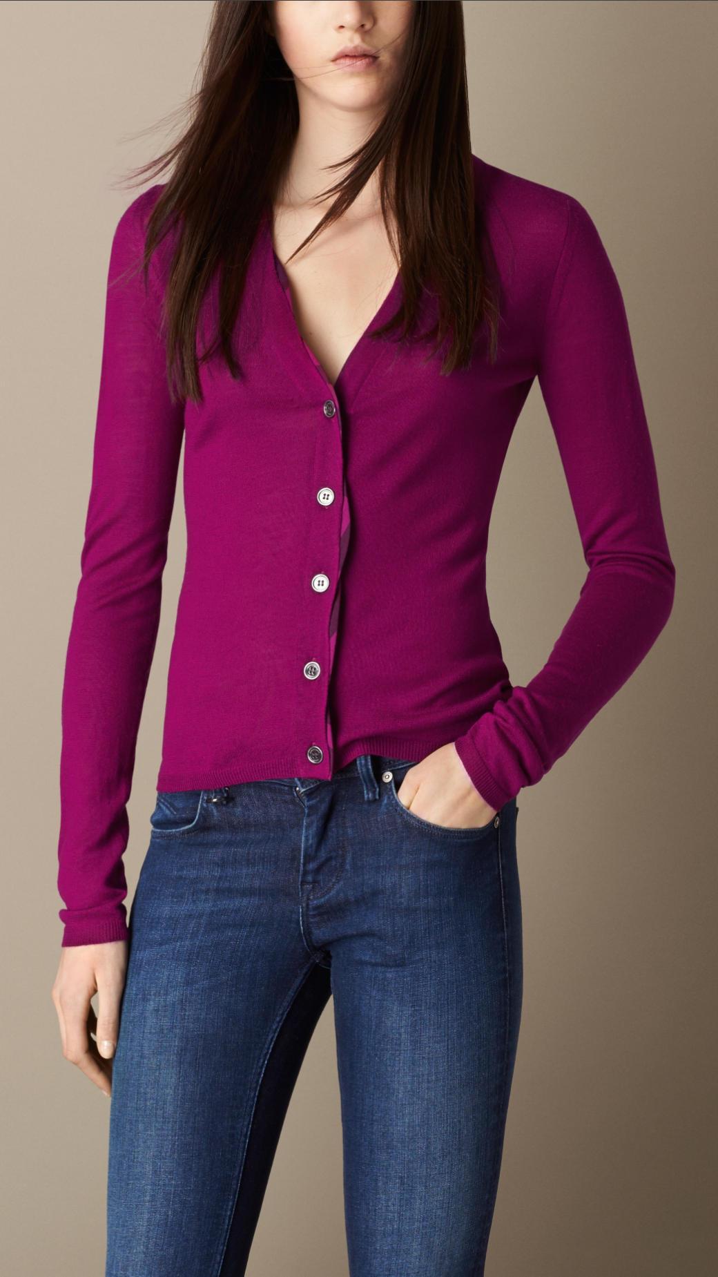 Burberry Check Placket Merino Wool Cardigan in Purple | Lyst