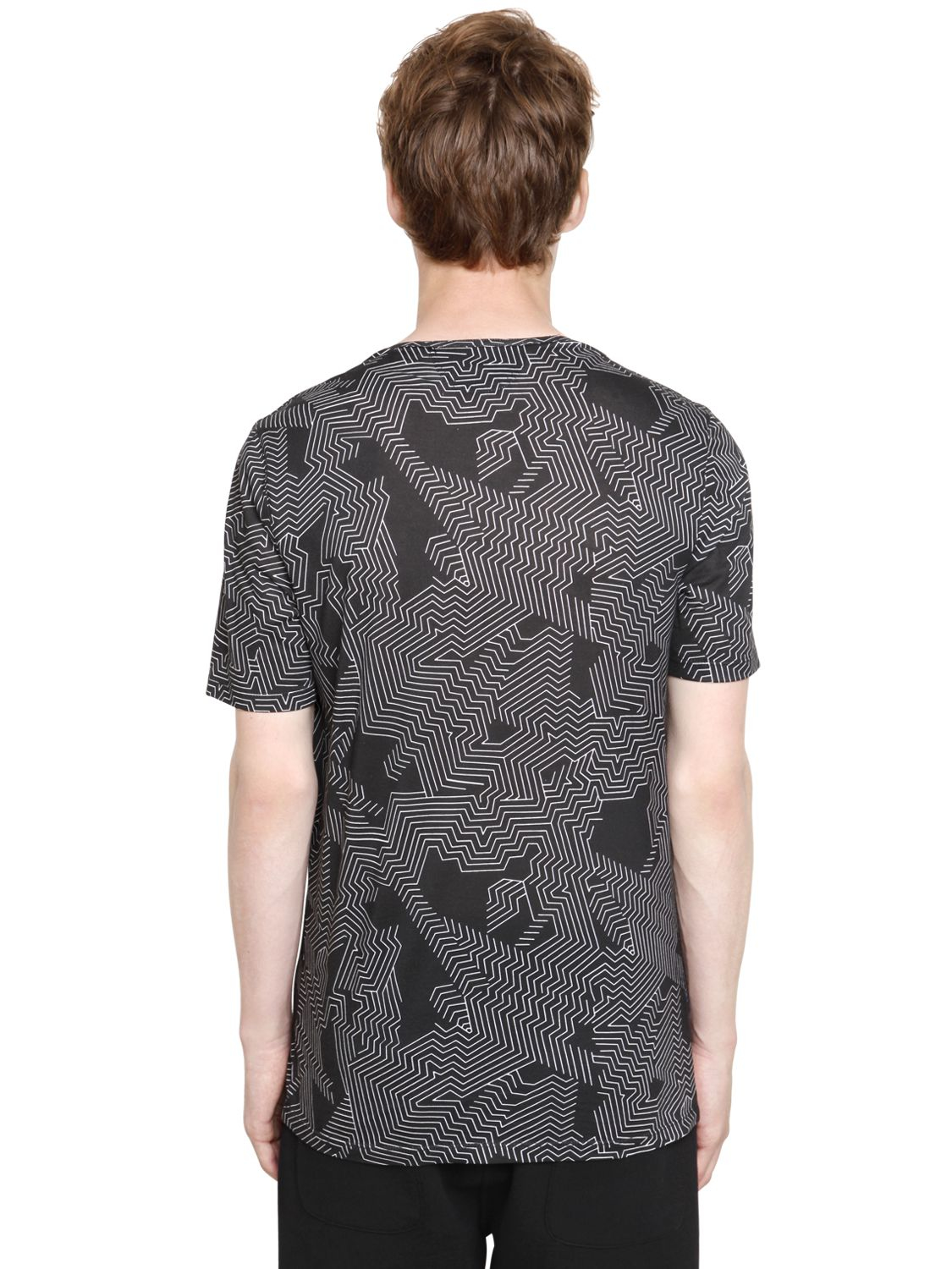 helmut lang labyrinth print short sleeve t shirt in black. Black Bedroom Furniture Sets. Home Design Ideas