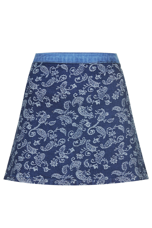 topshop moto paisley jaquard skirt in blue lyst