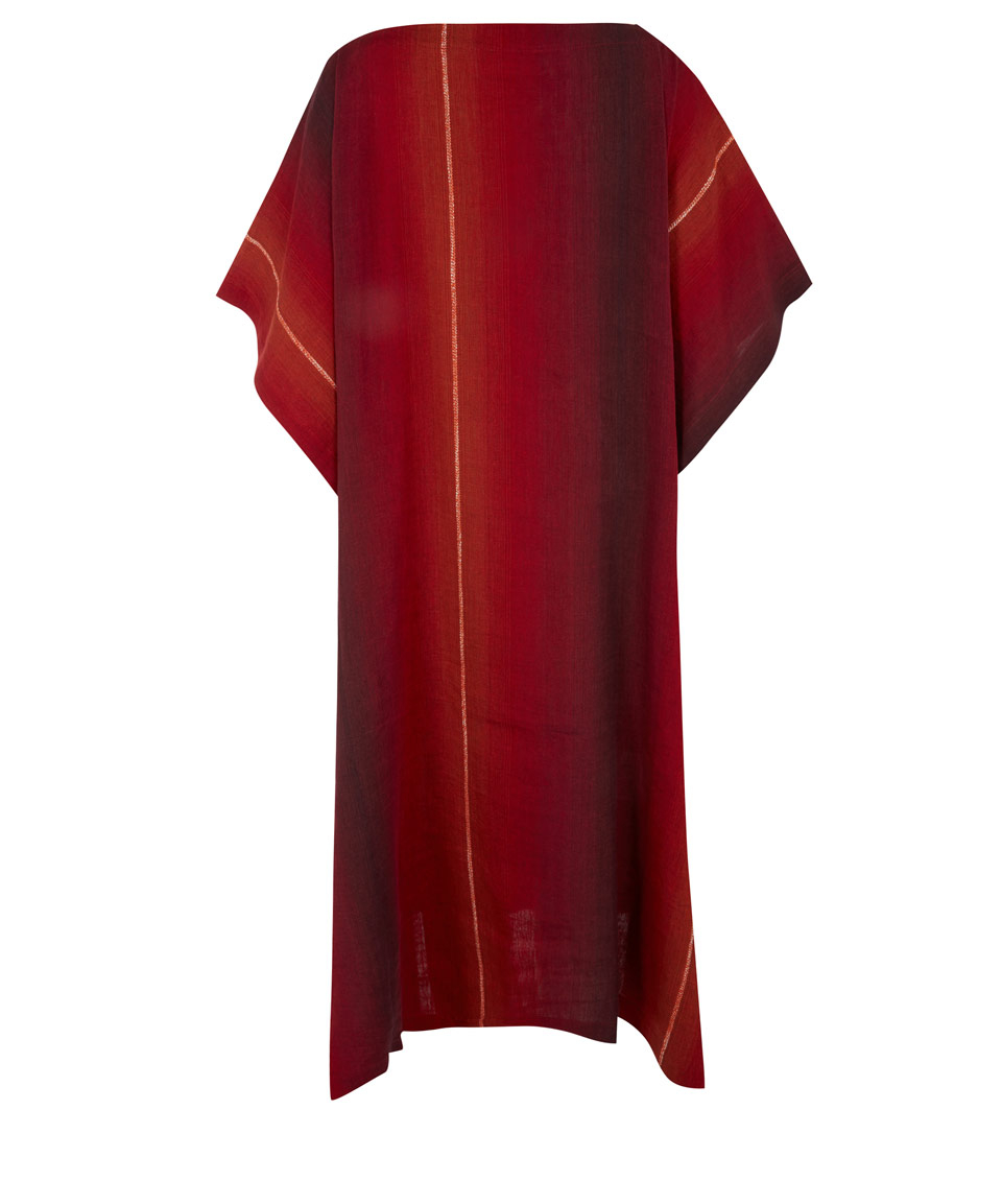 Lyst Eskandar Red Stripe Linen Cotton Blend Kaftan Dress