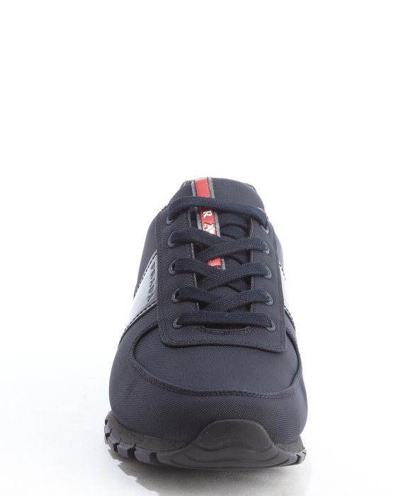 3252beadc18582 norway lyst prada match race leather and neoprene sneakers in blue for men  05842 c9297