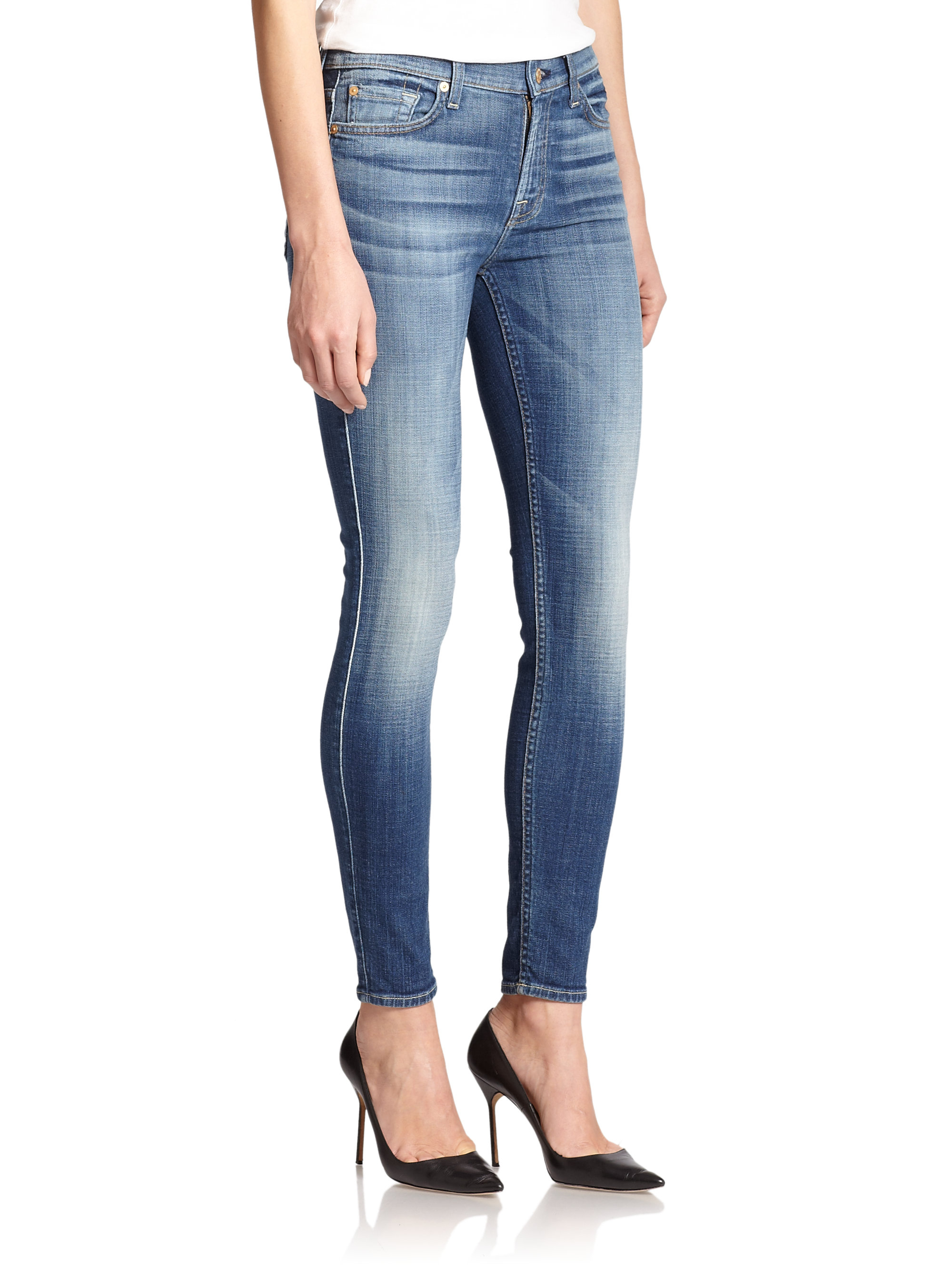 for all mankind the ankle skinny jeans in blue lyst. Black Bedroom Furniture Sets. Home Design Ideas
