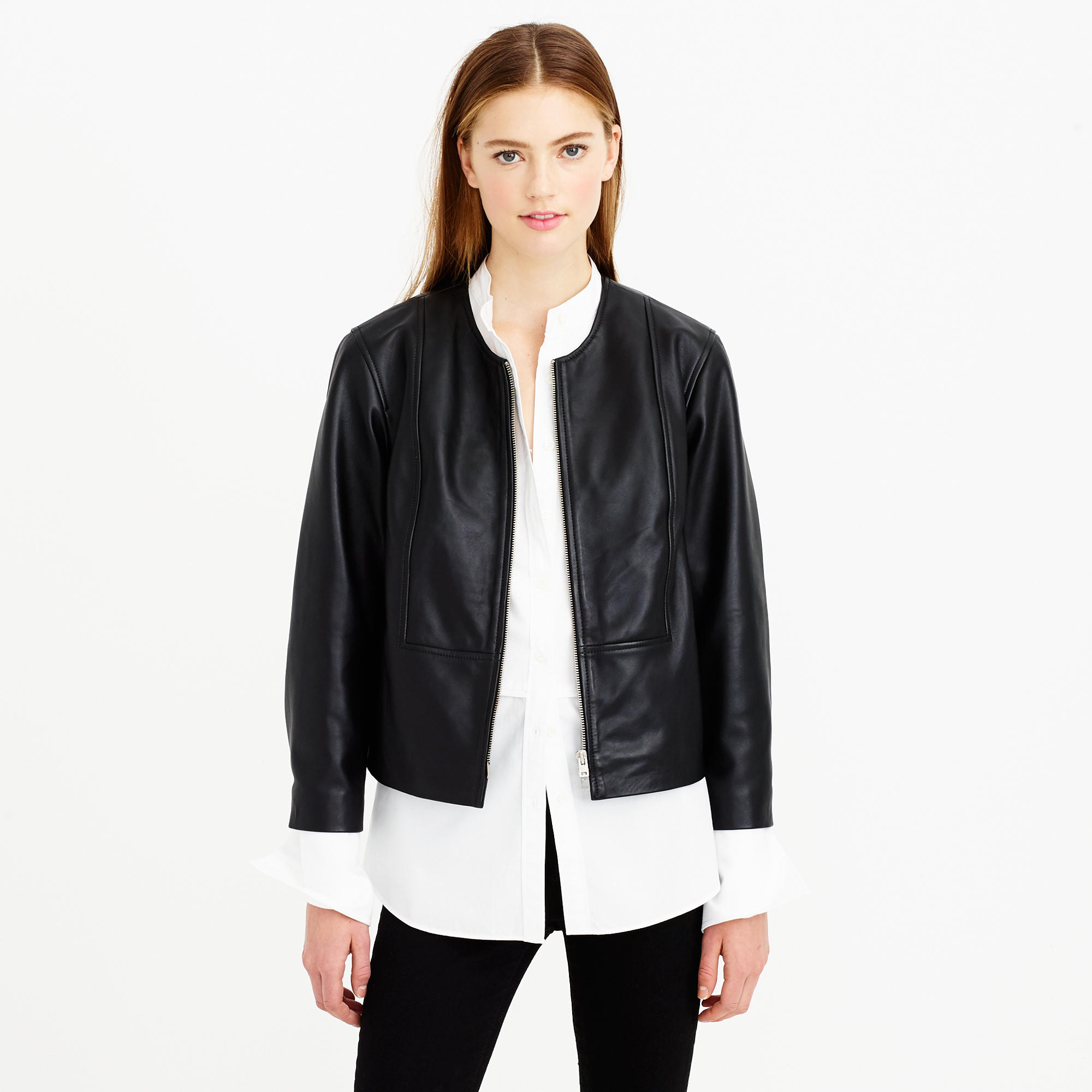 J.crew Collection Collarless Leather Jacket in Black | Lyst