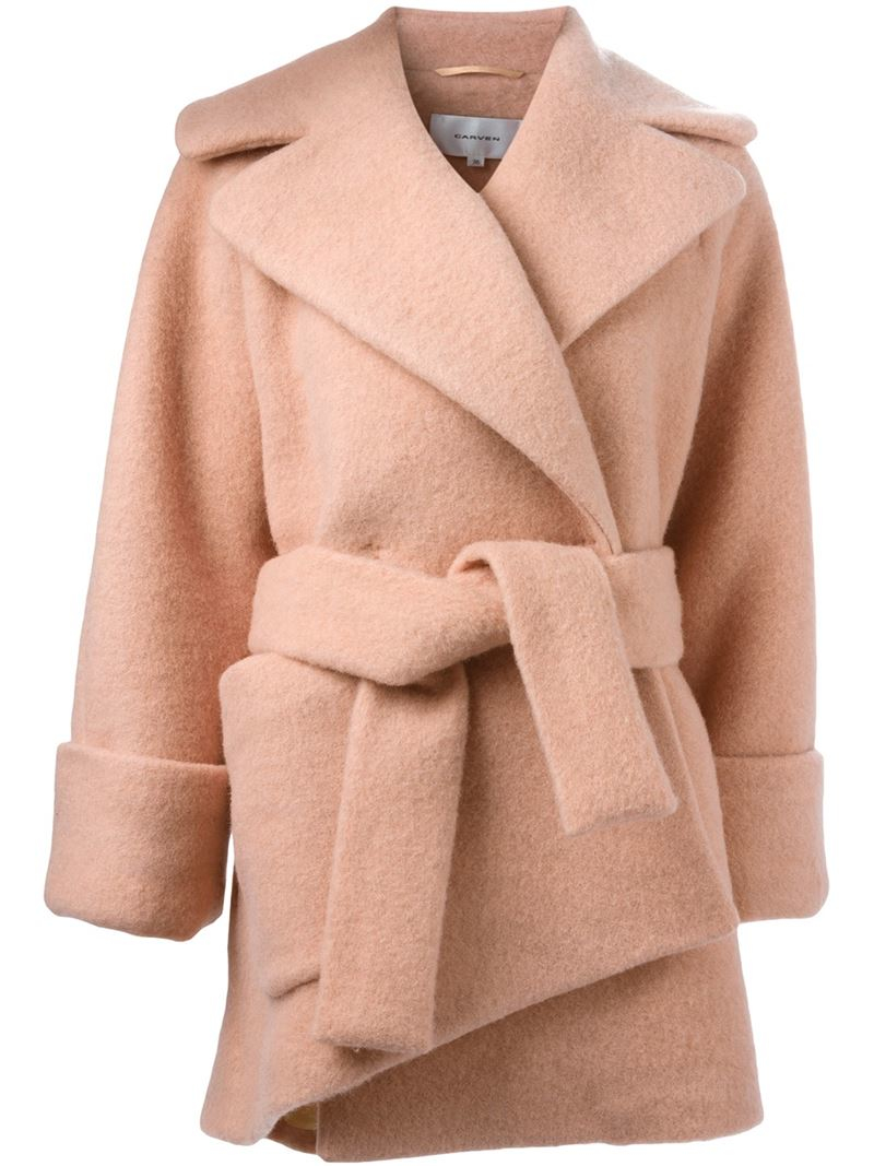 Carven Robe-style Coat in Pink | Lyst