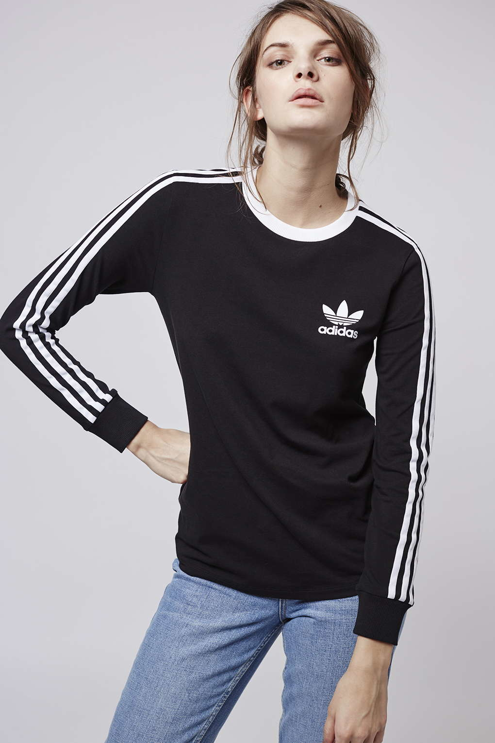 Lyst topshop three stripe long sleeve top adidas for Black and white striped long sleeve shirt women