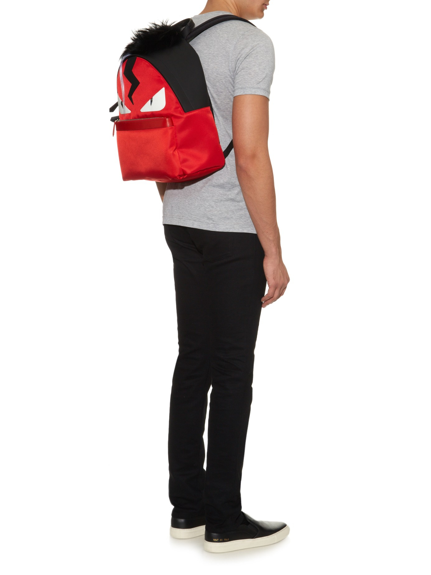 54173d090c96 Fendi Bag Bugs Leather And Nylon Backpack in Red for Men - Lyst