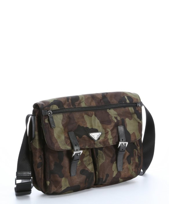 replica prada wallets women - Prada Green and Black Camouflage Nylon Flap Front Messenger Bag in ...