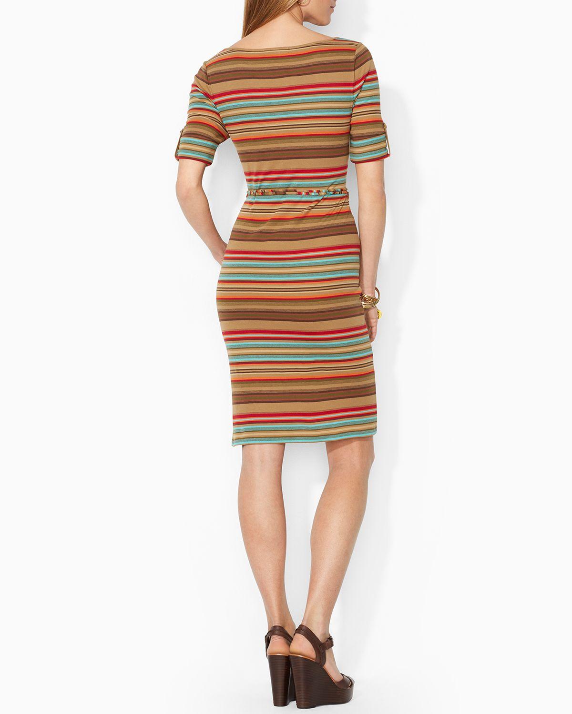 a0ca29668b7 Ralph Lauren Lauren Petites Stripe Roll Sleeve Dress in Brown - Lyst