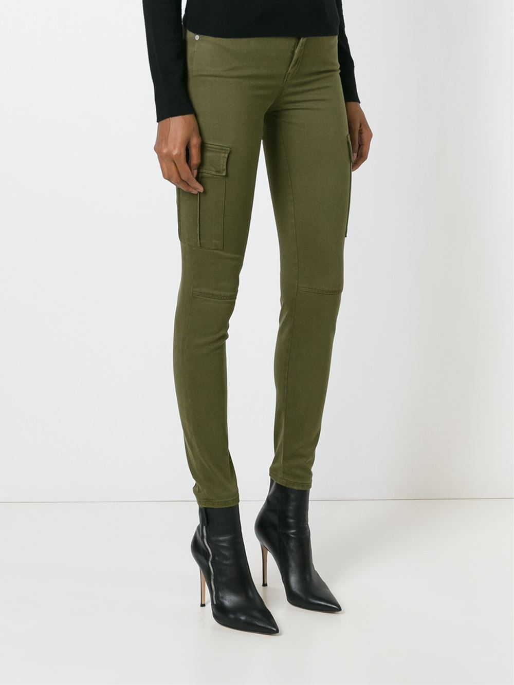 Lyst 7 For All Mankind Skinny Cargo Jeans In Green
