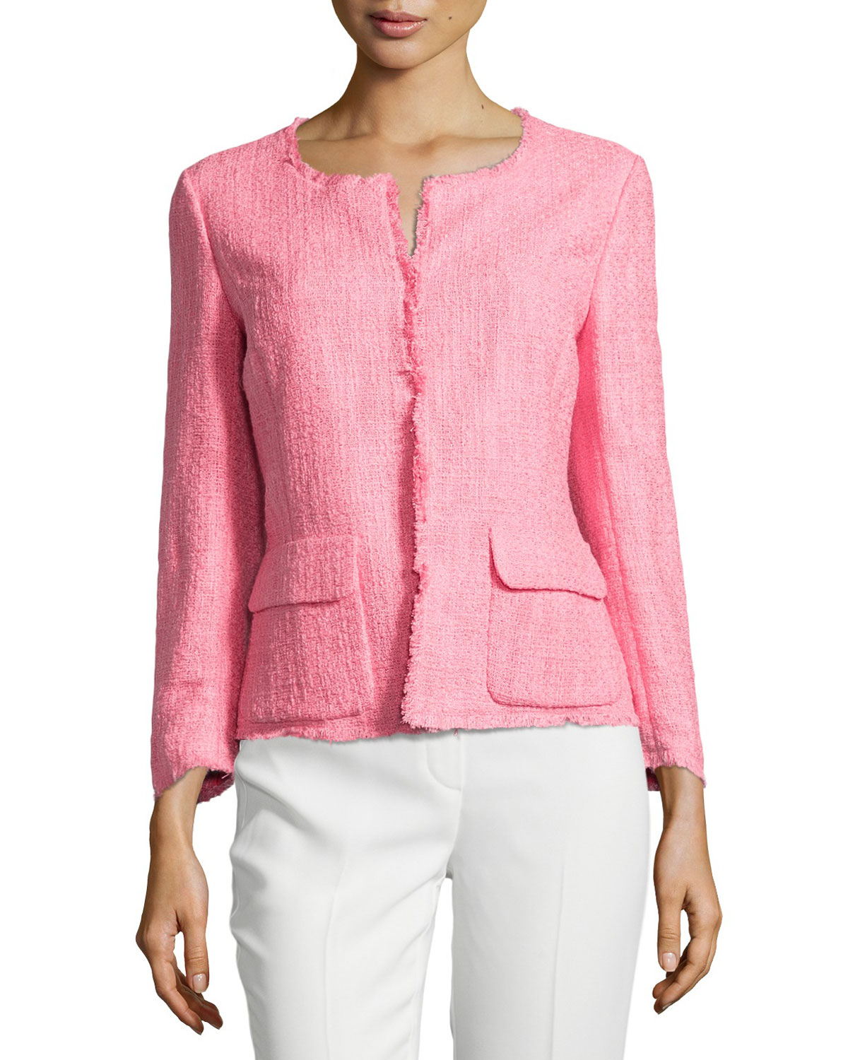 Lyst - Lafayette 148 new york Portia Fringe-trim Boucle Jacket in Pink