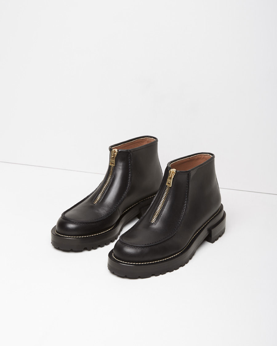 Marni Zip-Front Leather Ankle Boots in Black | Lyst