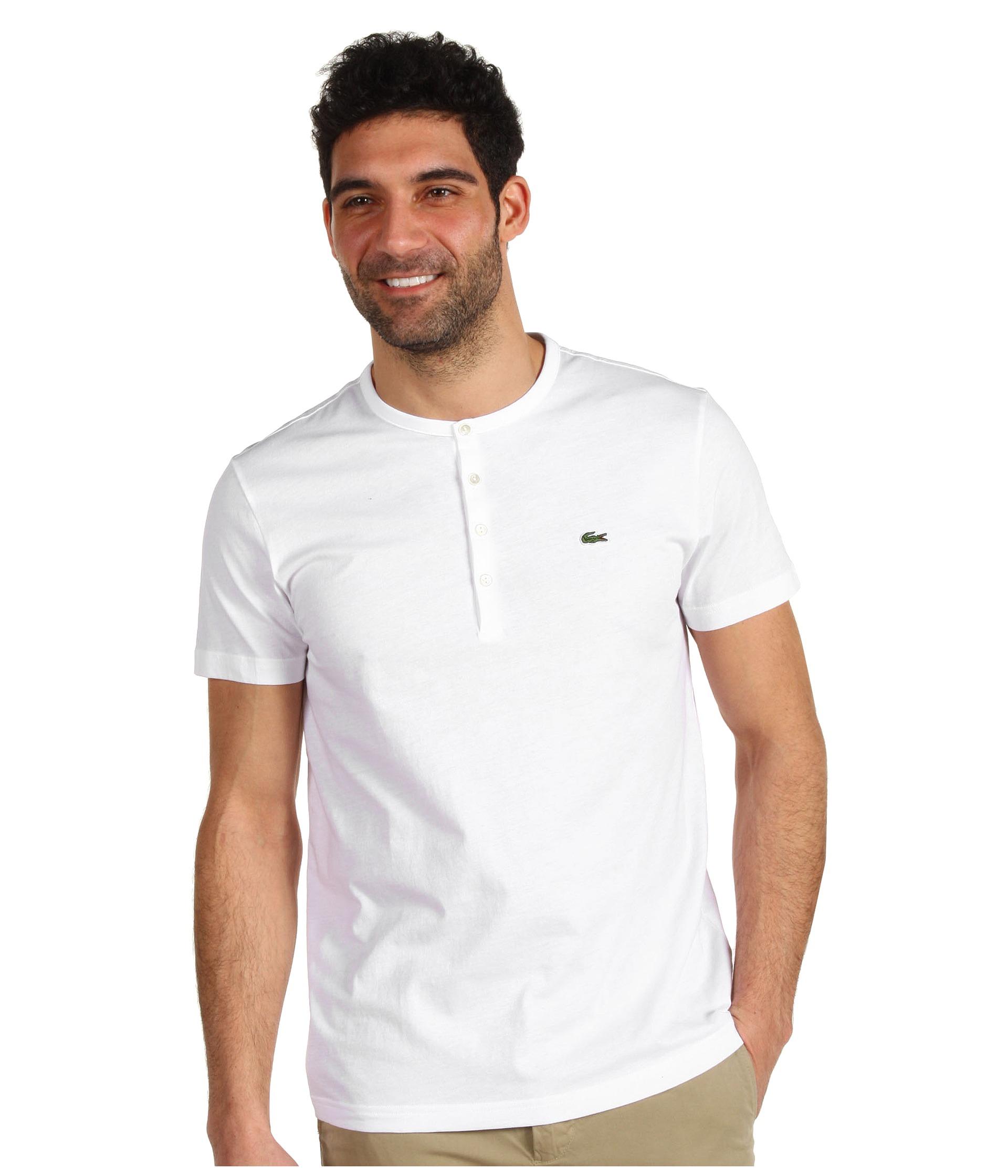 17647c187e3d2 Lyst - Lacoste S S Pima Cotton Henley T-Shirt in White for Men