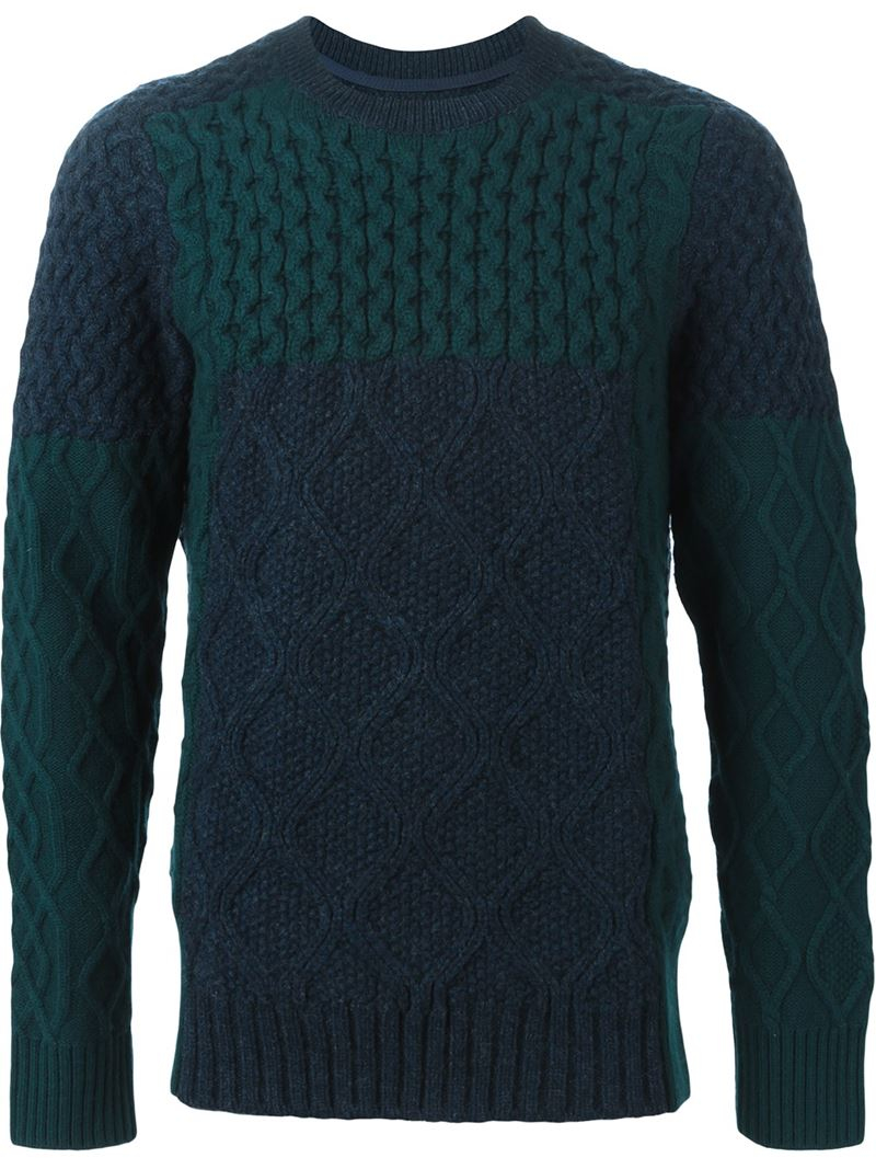 Sacai Cable Knit Sweater in Green for Men | Lyst