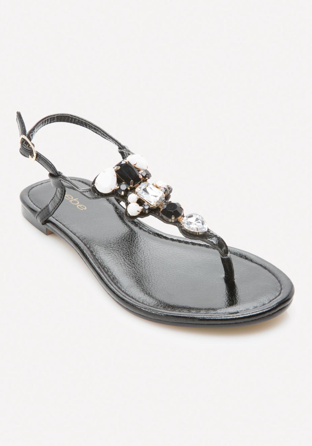 e8c39eb4ca16bd Bebe Shaya Jeweled Flat Sandals - Lyst