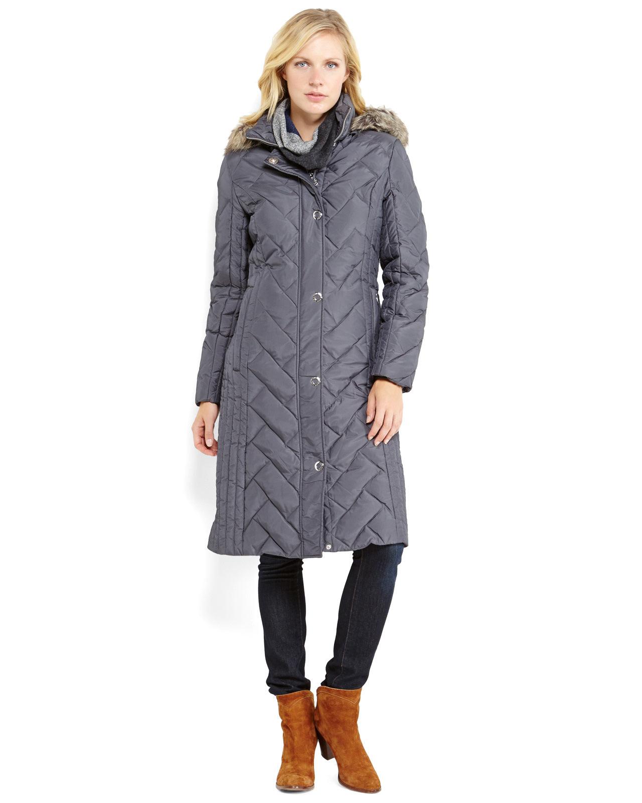 Anne klein Faux Fur Trim Long Hooded Down Coat in Gray ...