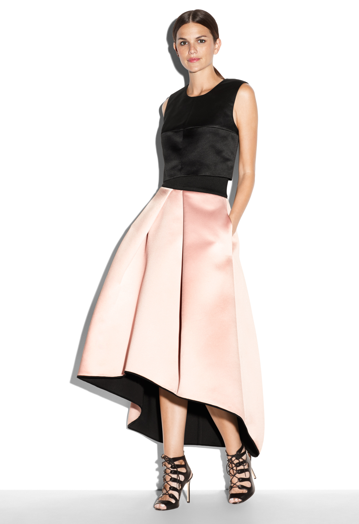 b31728d8316468 MILLY Tucked Ball Skirt in Pink - Lyst