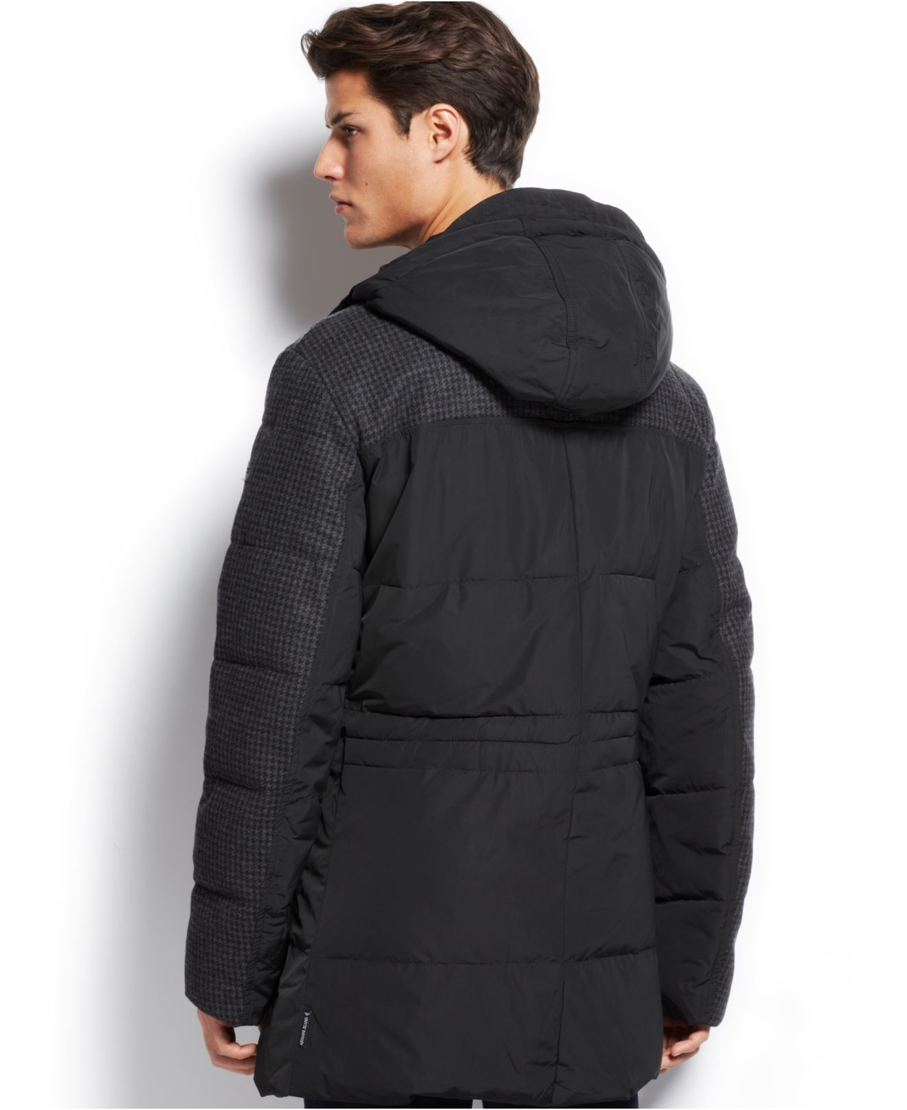 Armani jeans Houndstooth Long Puffy Coat in Black for Men | Lyst