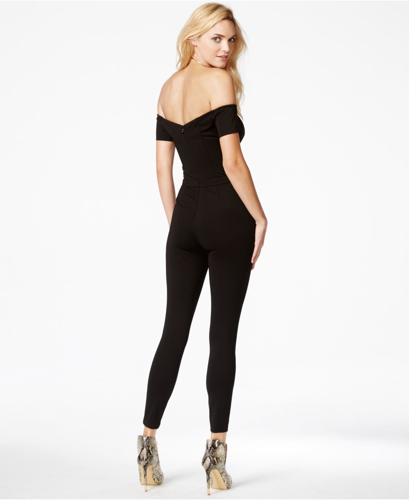 Guess Off-the-shoulder Jumpsuit in Black | Lyst