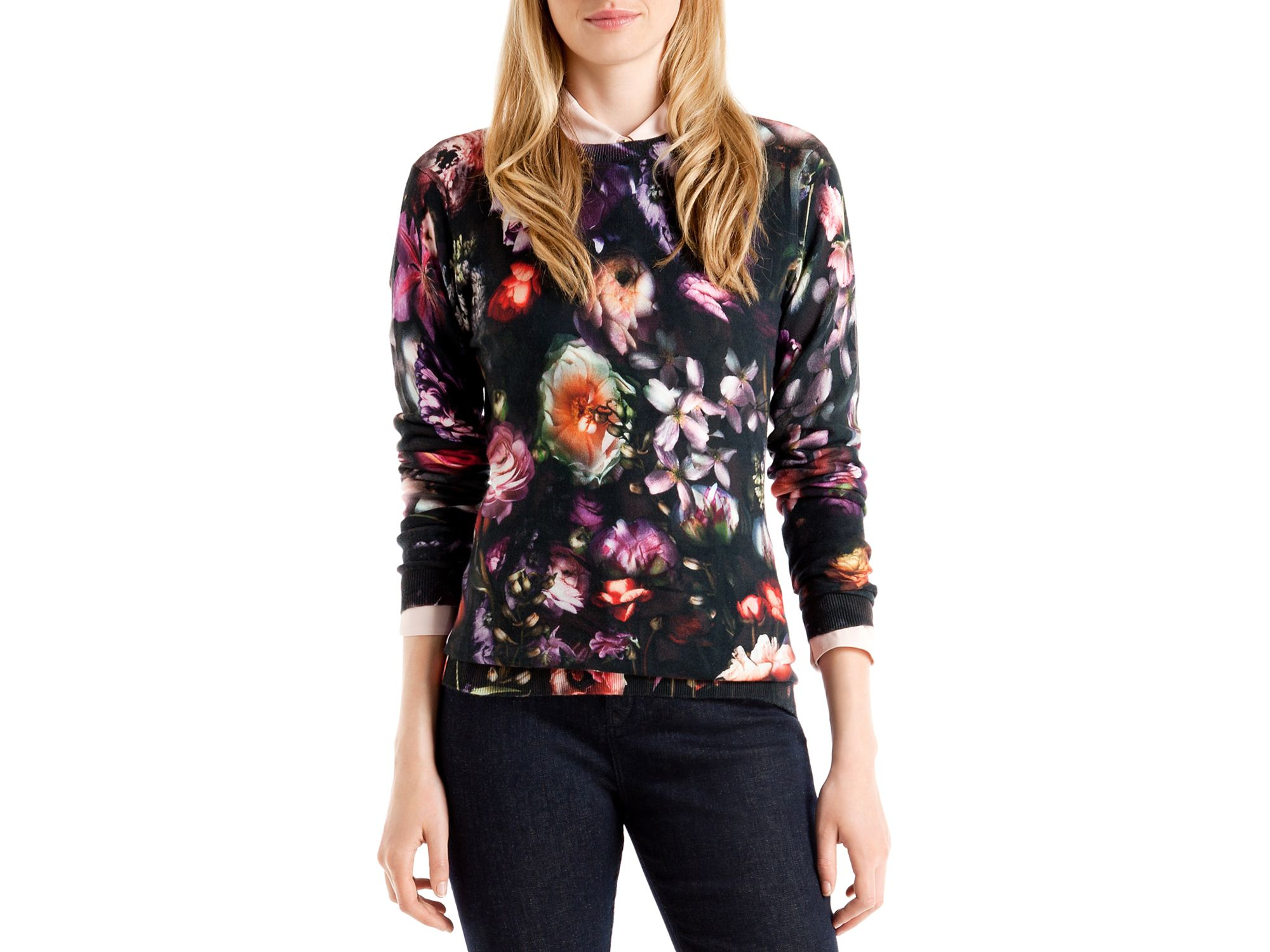 Ted baker Noline Shadow Floral Sweater | Lyst