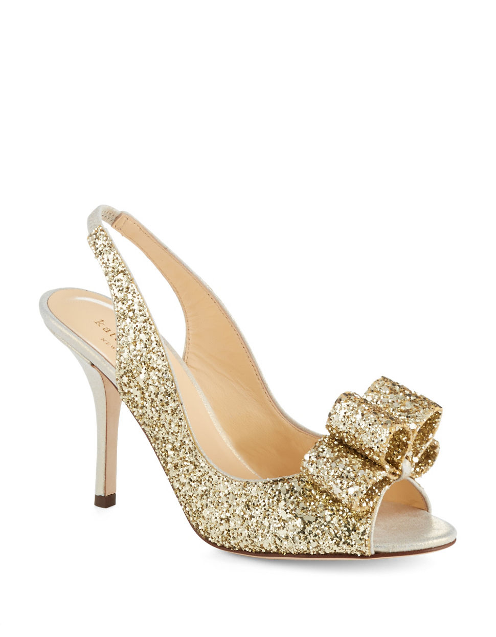 kate spade charm glitter heels in gold gold glitter lyst