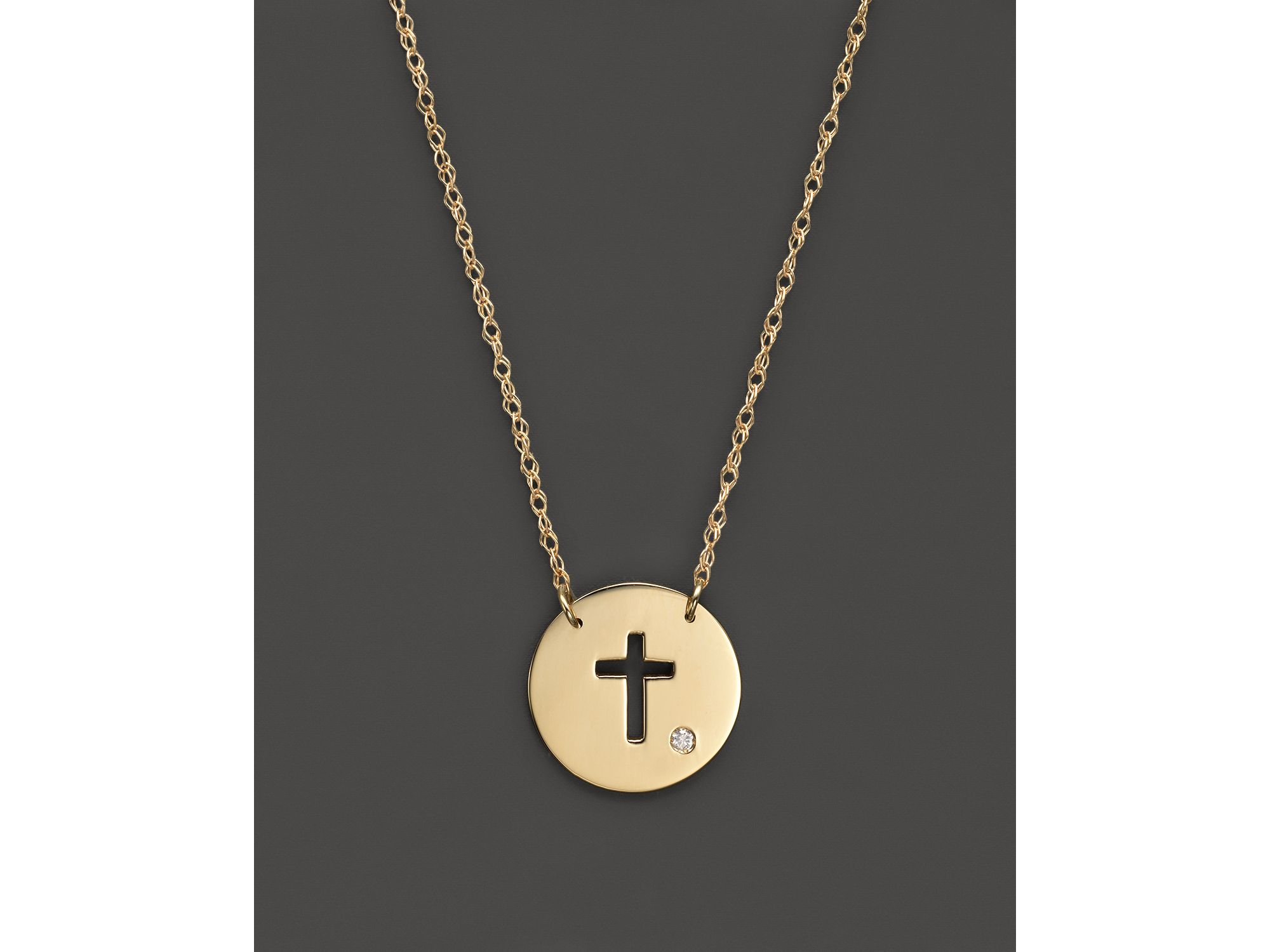 Jane basch 14k Yellow Gold Cut Out Cross Disc Pendant Necklace 16