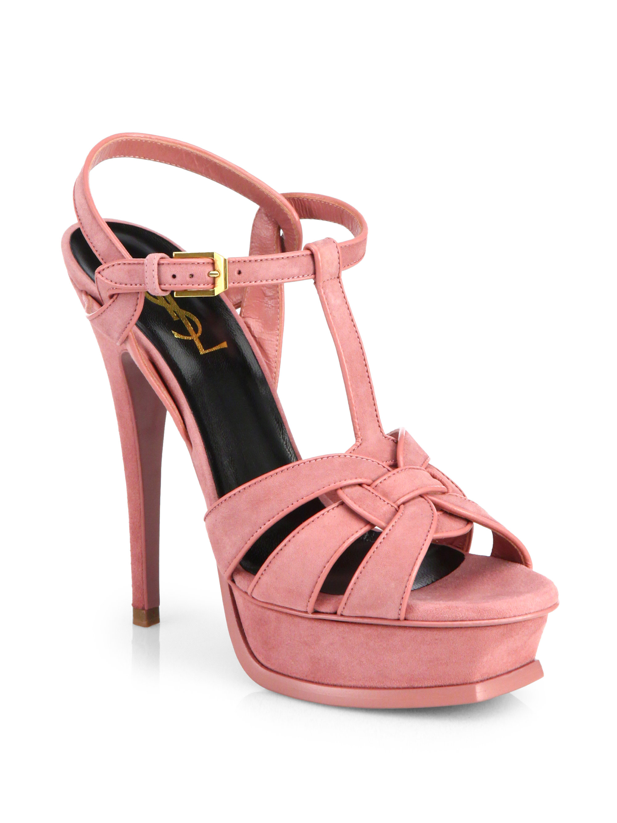 205d39ce178 Saint Laurent Suede Tribute Platform Sandals in Pink - Lyst