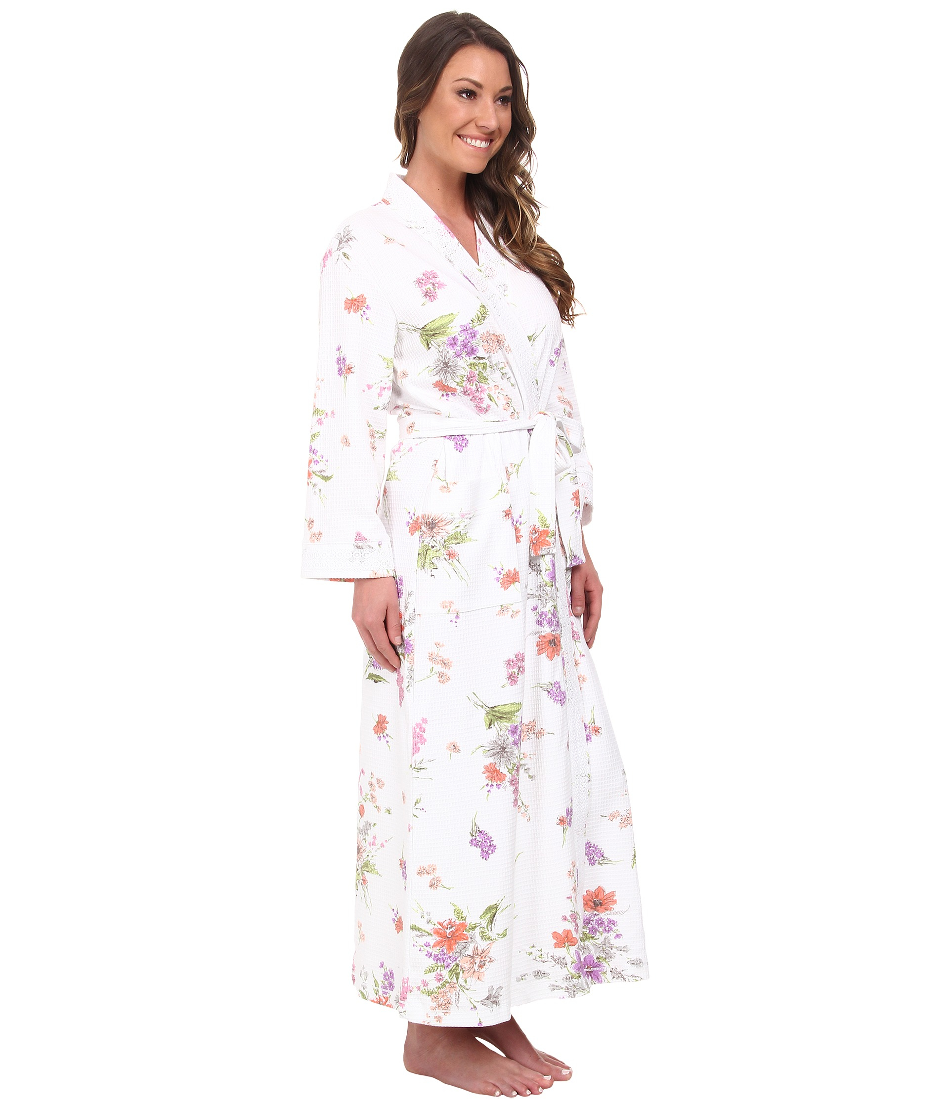 Lyst - Carole Hochman Waffle Knit Printed Long Robe