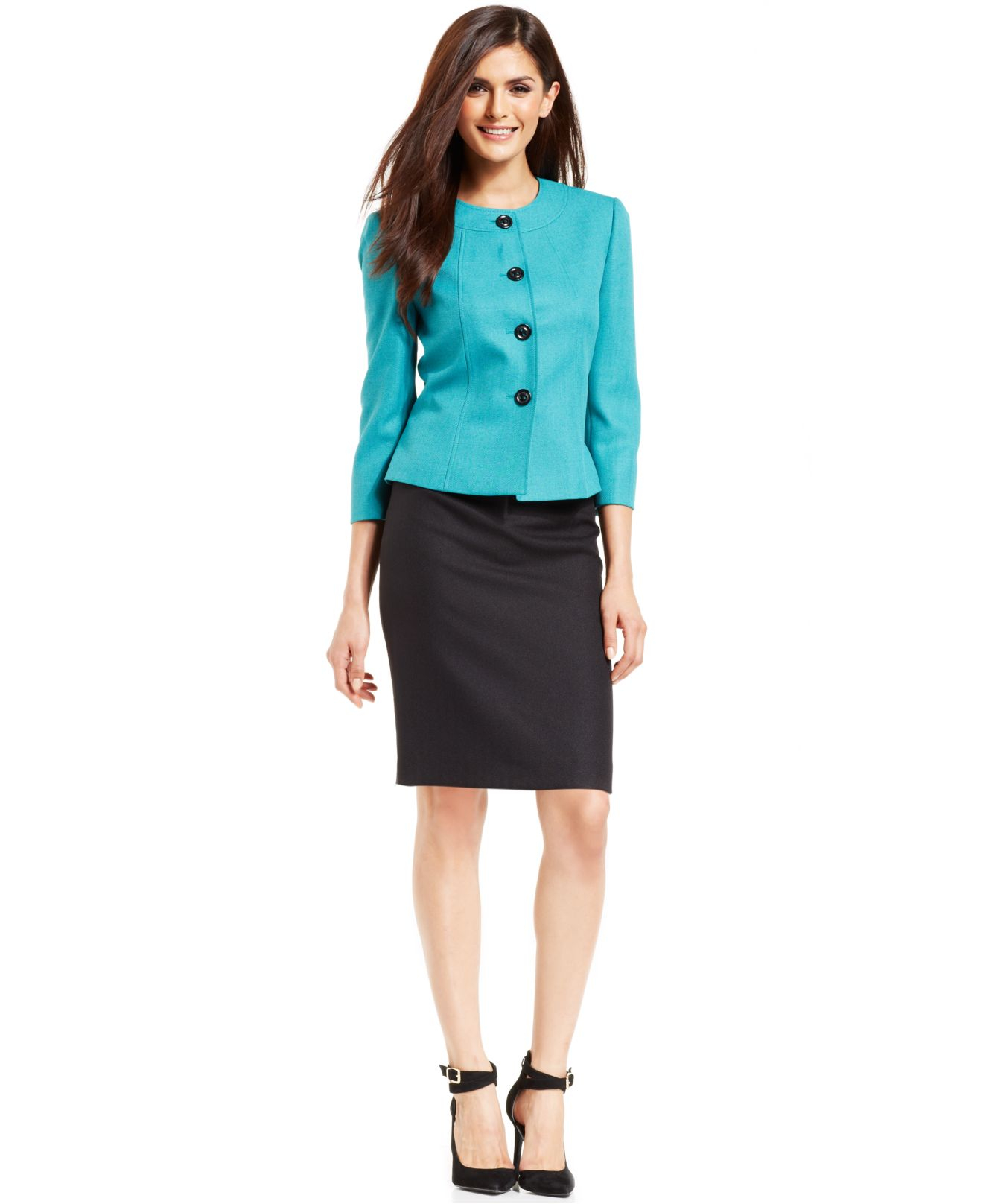 tahari button front skirt suit in blue lyst