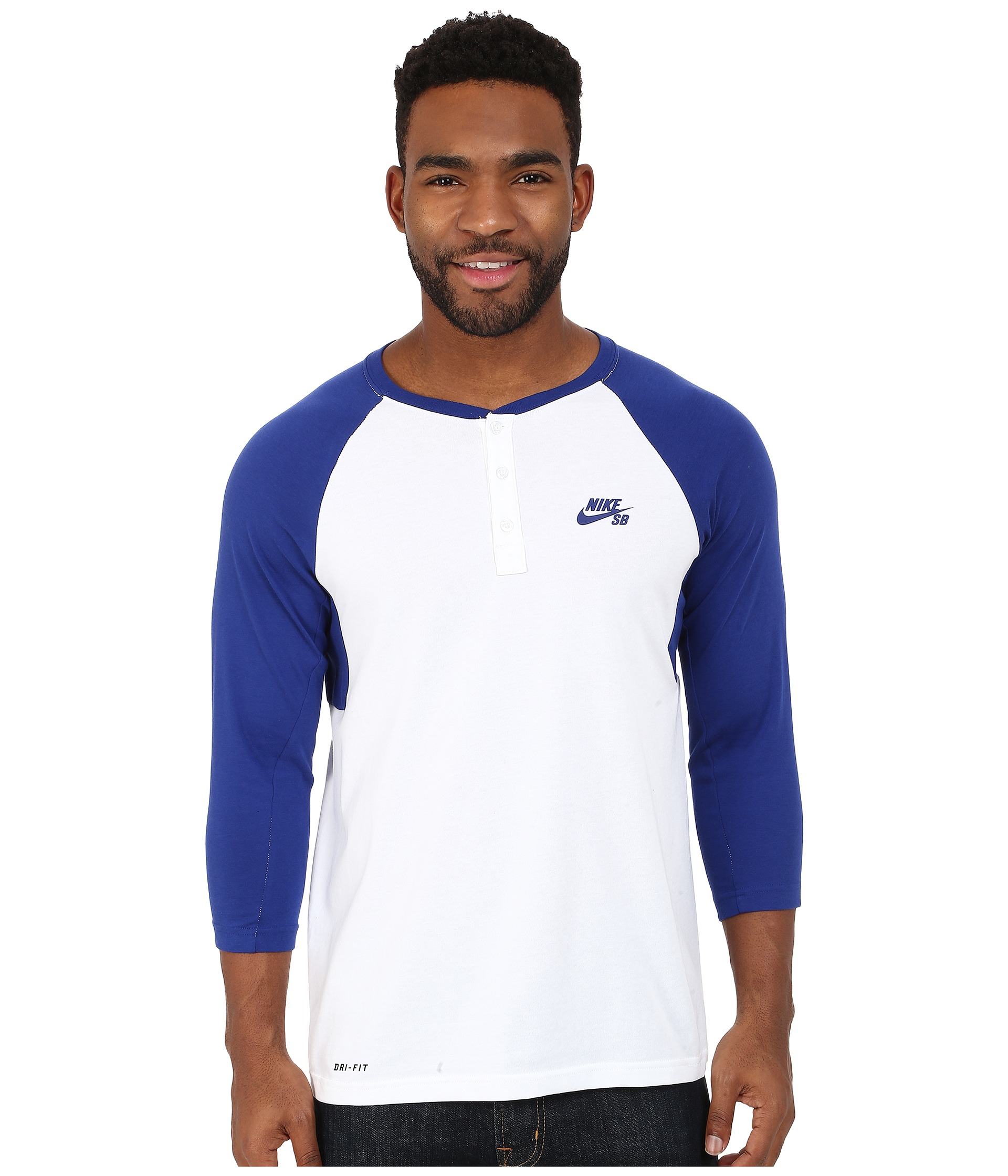 e2318a9b Nike Sb Dri-fit 3/4 Sleeve Henley Top in Blue for Men - Lyst