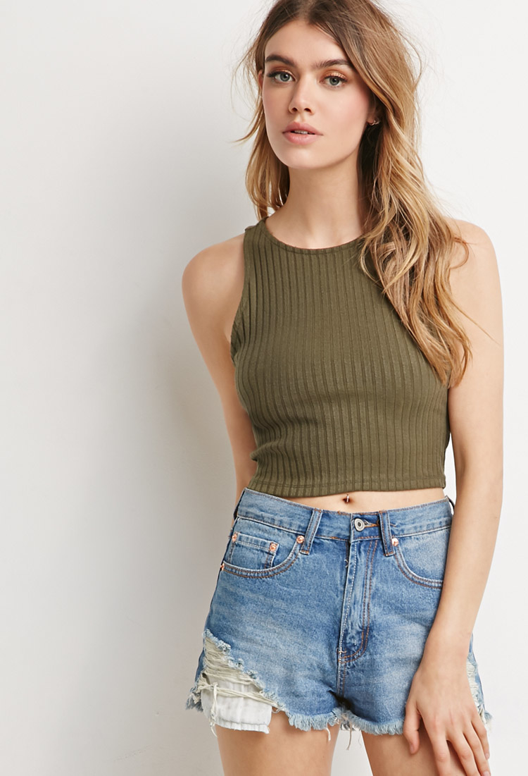 ea6cdabf1a43c Forever 21 Ribbed Knit Crop Top in Green - Lyst