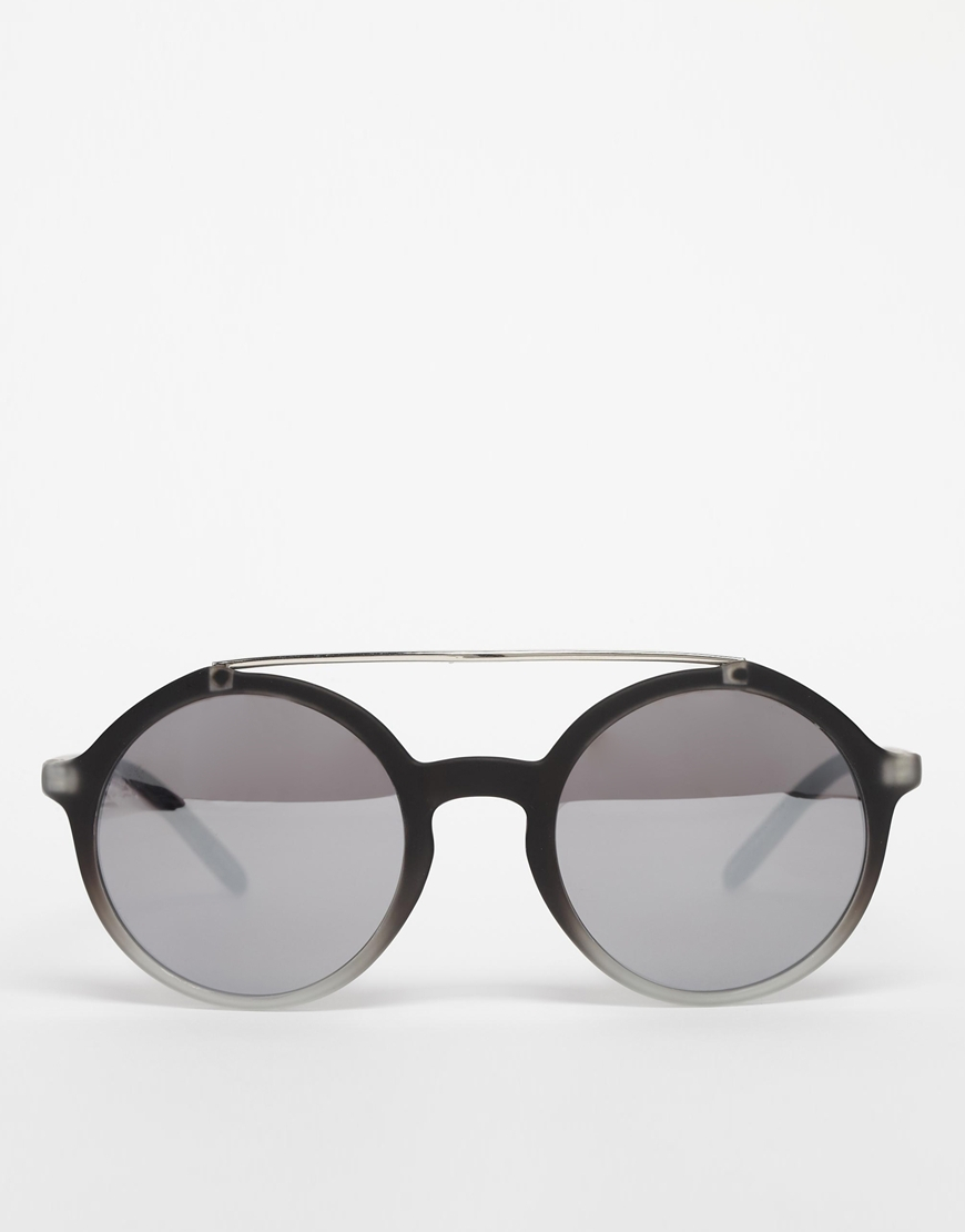 16b16faded Lyst - ASOS Round Sunglasses with Brow Bar and Metal Arms in Gray ...