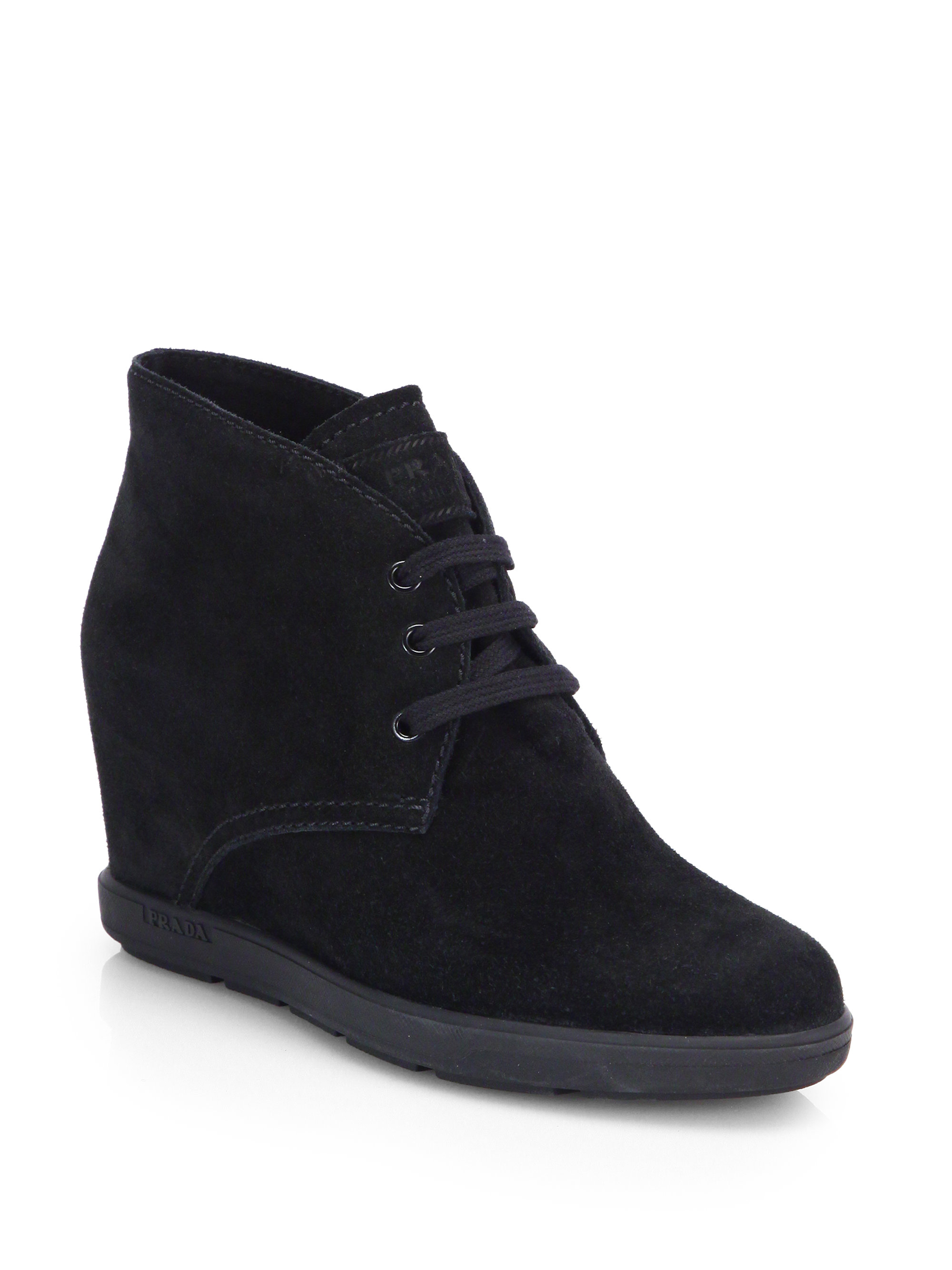 prada suede wedge ankle boots in black lyst