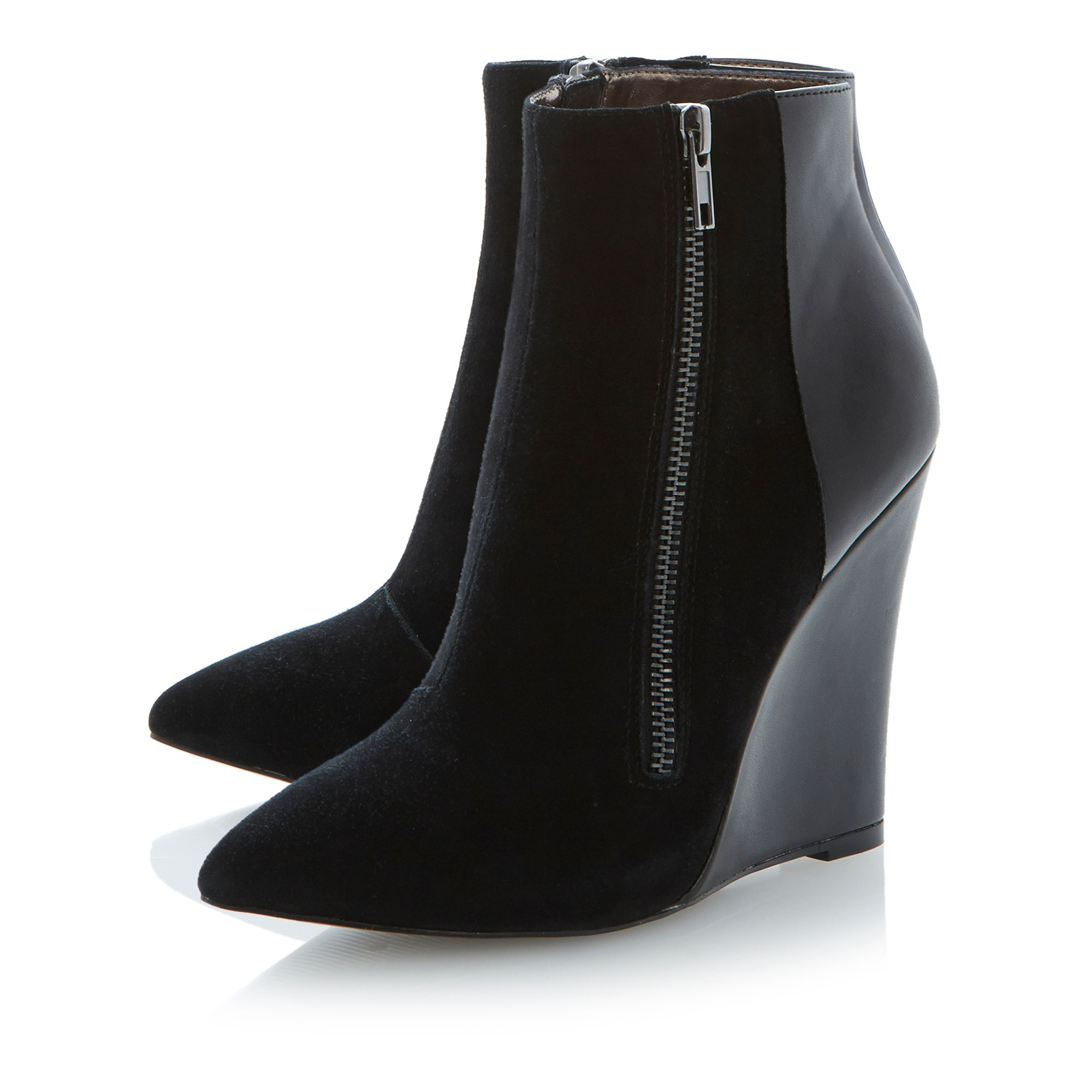 Steve madden Daaring Zip Detail Pointed Toe Wedge Ankle Boots in