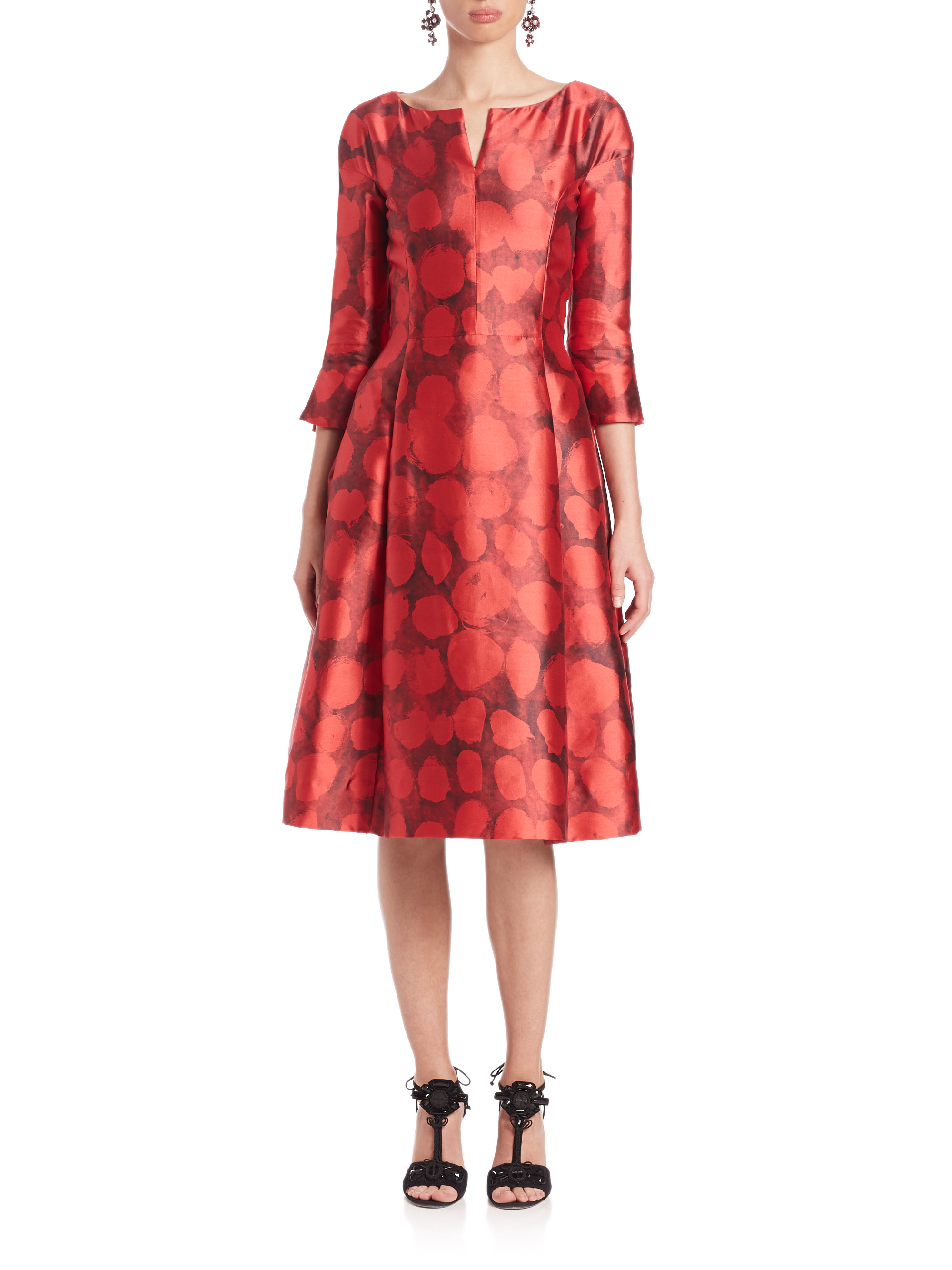 lyst oscar de la renta printed satin a line dress in red. Black Bedroom Furniture Sets. Home Design Ideas