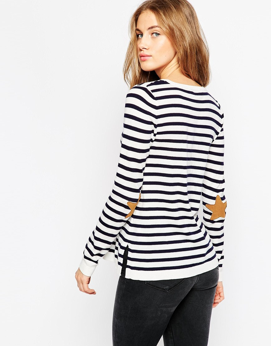 Asos petite | asos petite sweater with navy star elbow patch.