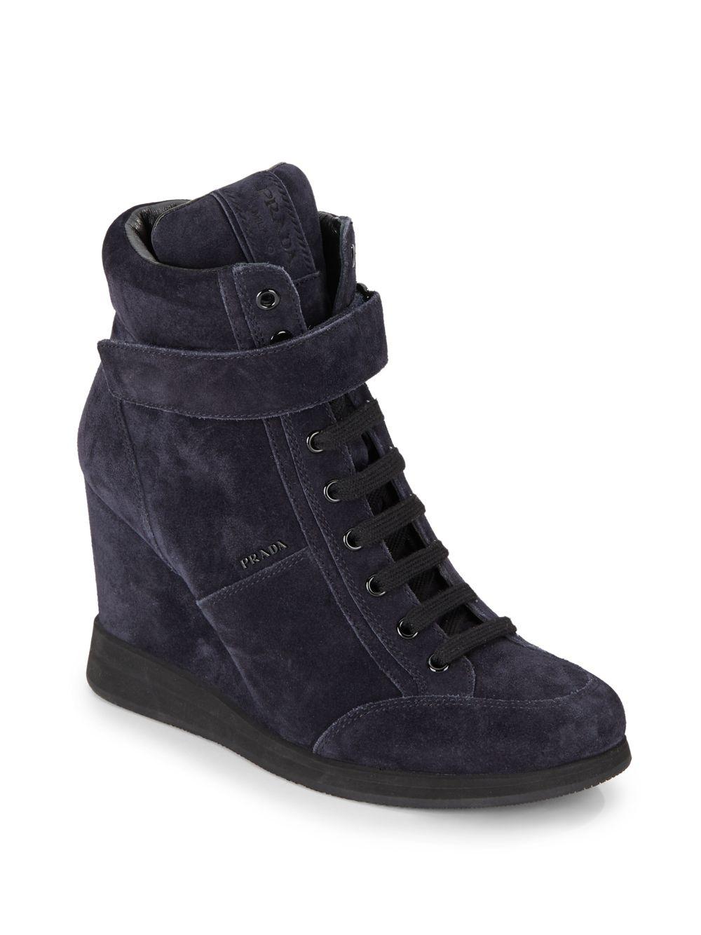 e7d09fd253ce Lyst - Prada Suede High-top Wedge Sneakers in Blue
