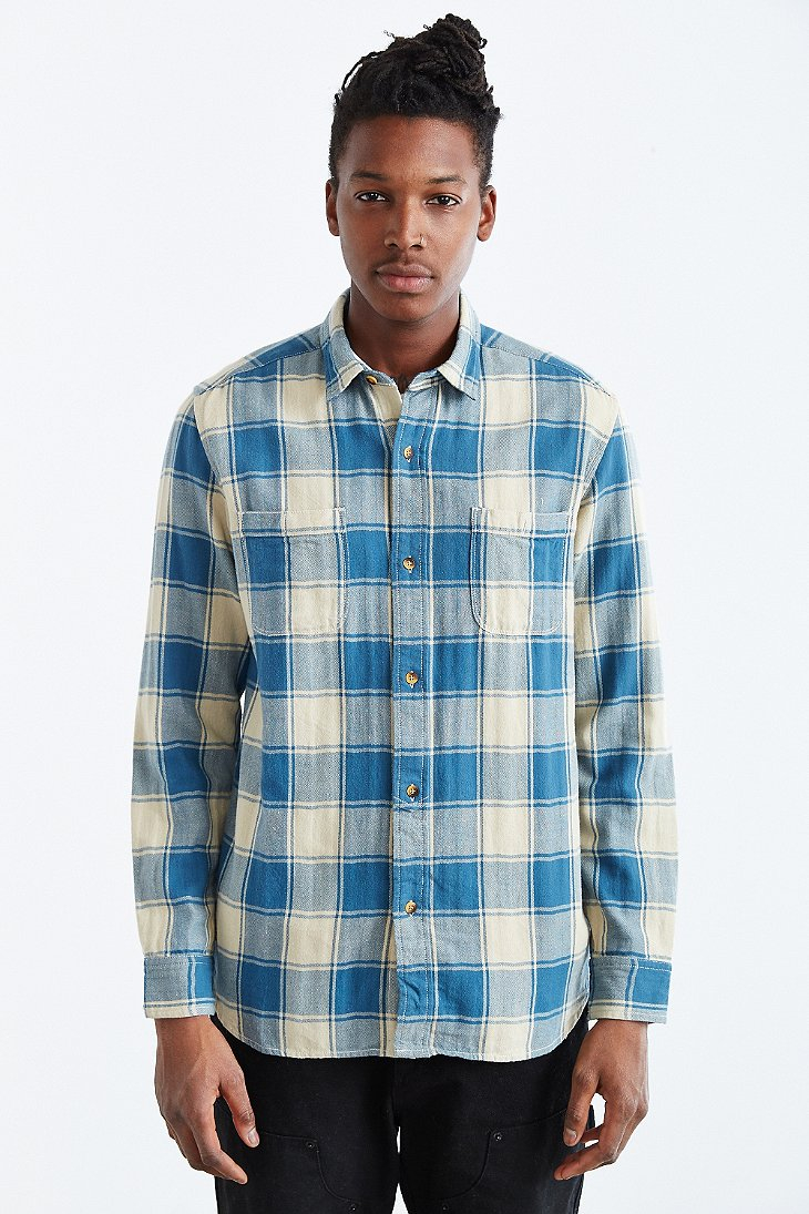 Koto Washed Buffalo Plaid Button-down Shirt in Blue for Men | Lyst
