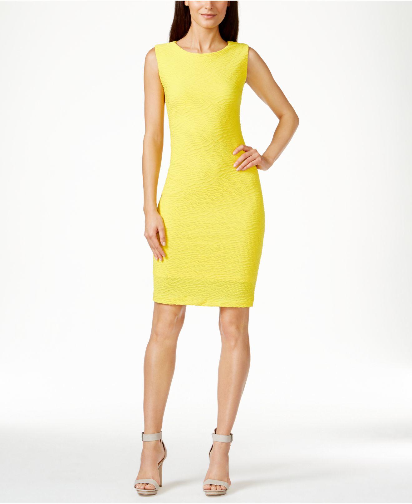 Lyst - Calvin Klein Textured Sheath Dress in Yellow