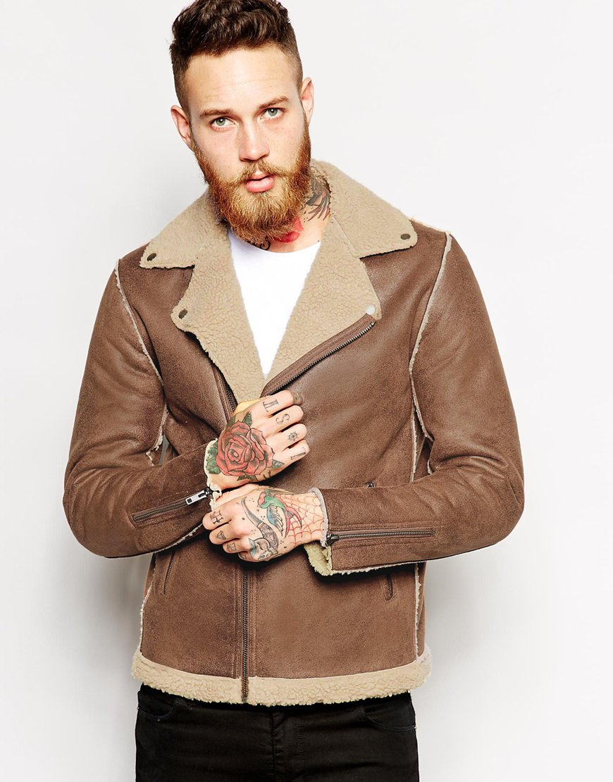 Asos Biker Jacket In Faux Shearling in Brown for Men | Lyst