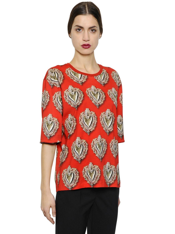 dolce gabbana oversized sacred heart cotton t shirt in. Black Bedroom Furniture Sets. Home Design Ideas