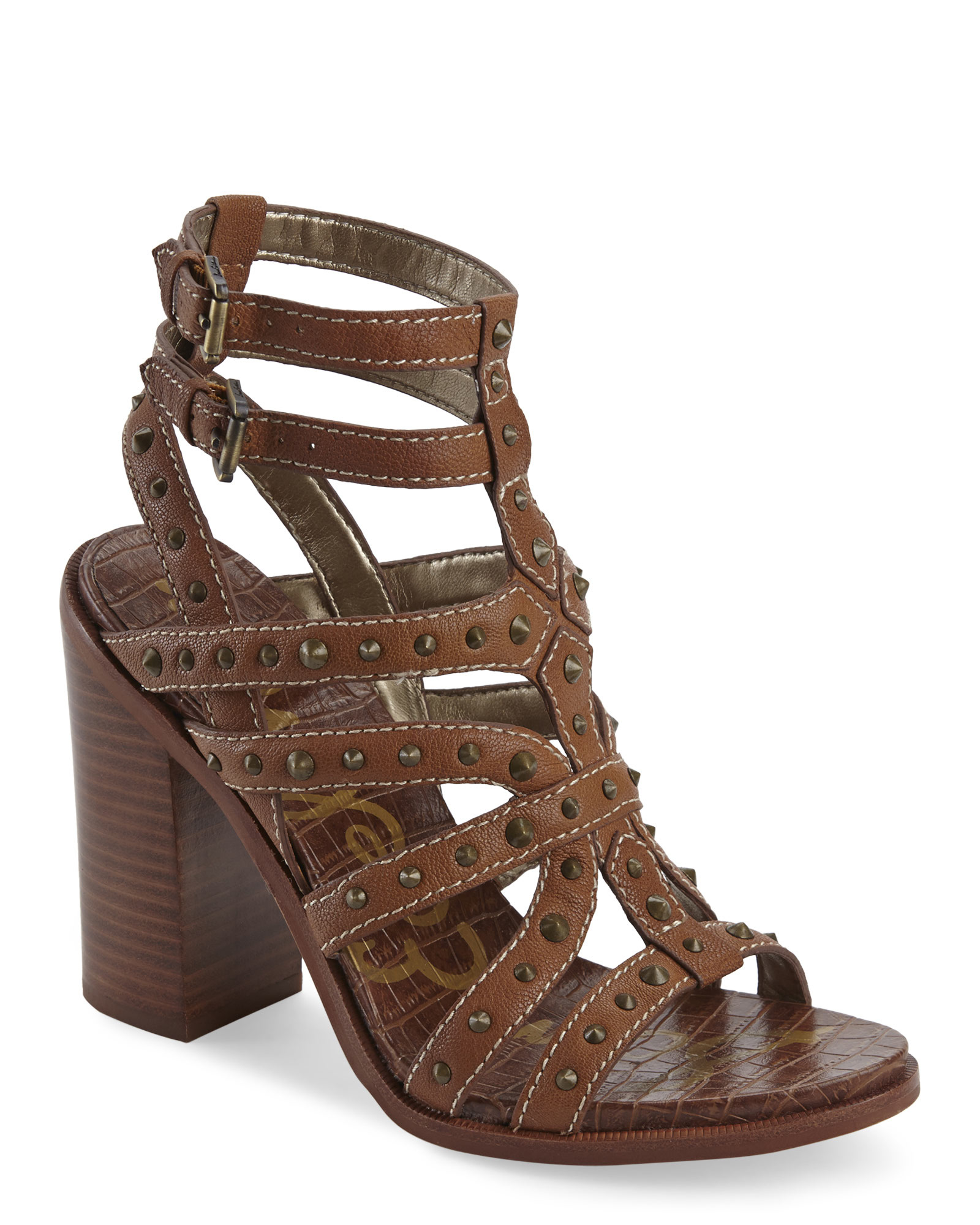 6c552a48fd99b ... Lyst - Sam Edelman Saddle Keith Studded Sandals in Brown discount sale  5f781 95de3 ...