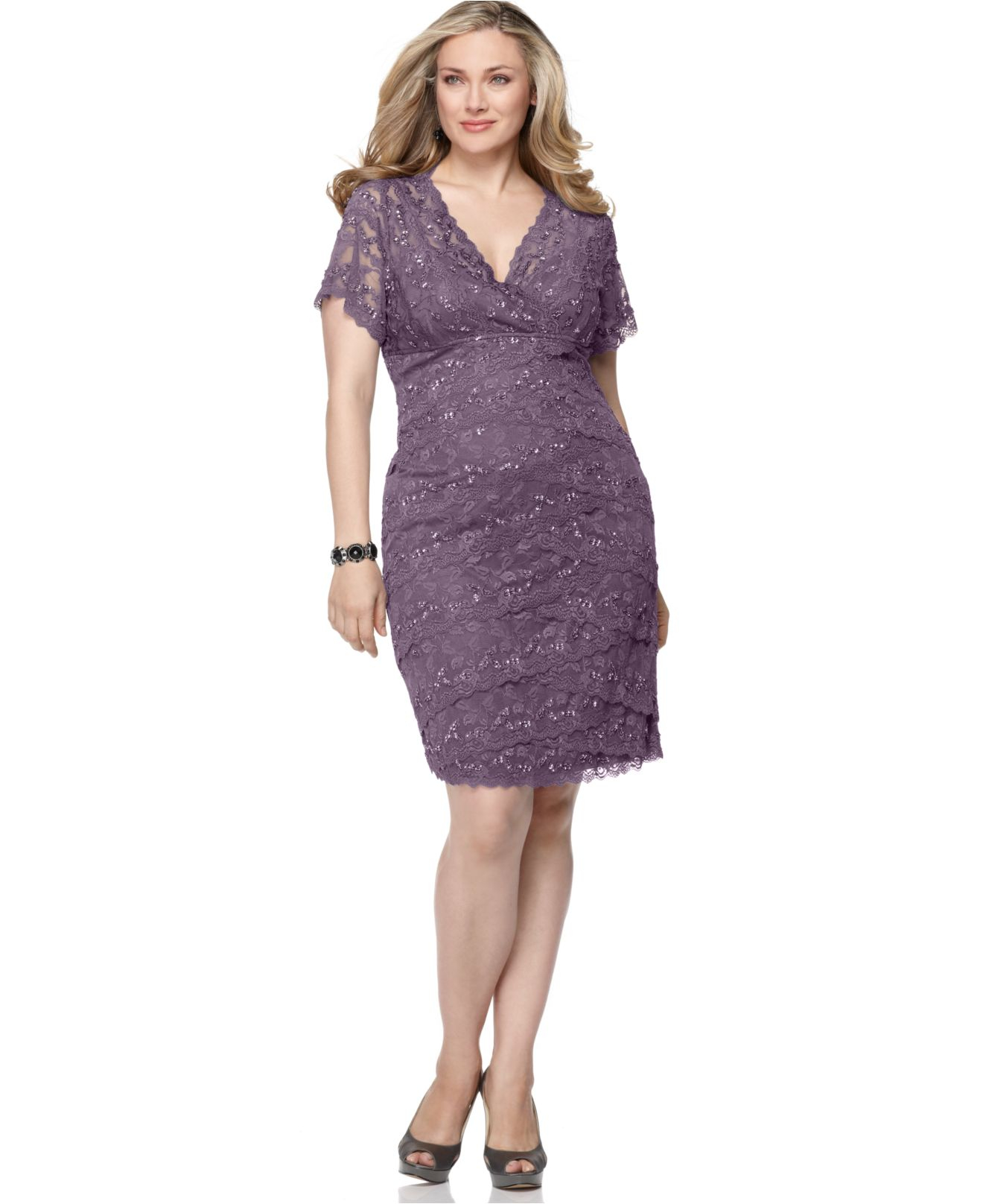 Wedding Marina Dresses marina plus size cap sleeve lace cocktail dress in purple lyst gallery