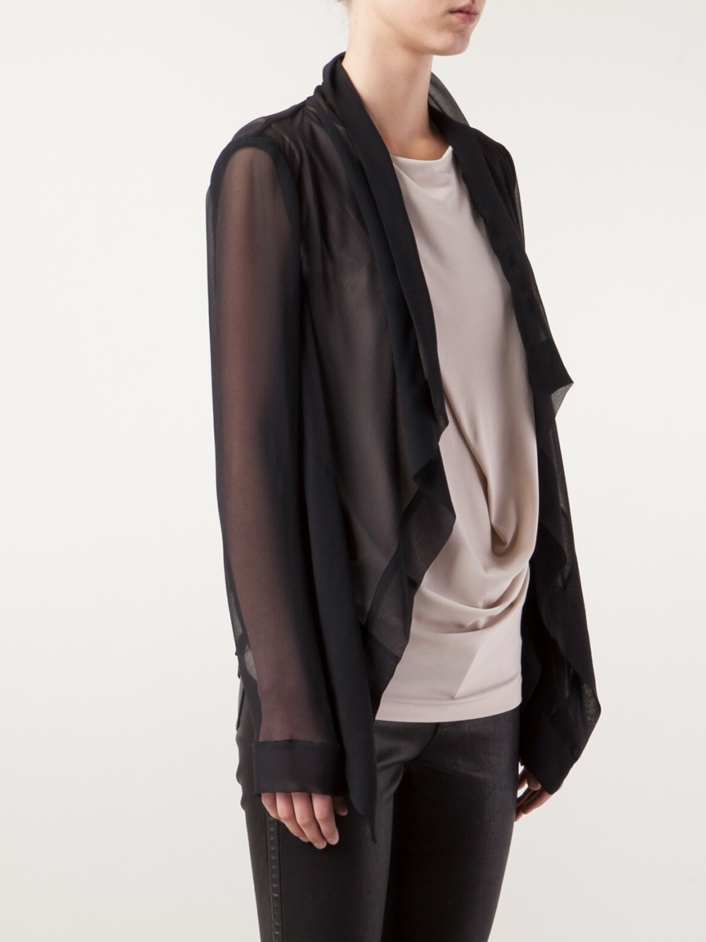 Plein sud Sheer Cardigan in Black | Lyst