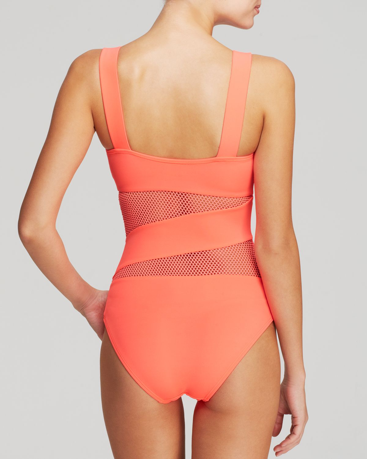 f68cf51b3565d DKNY Mesh Effect Splice Maillot One Piece Swimsuit in Pink - Lyst