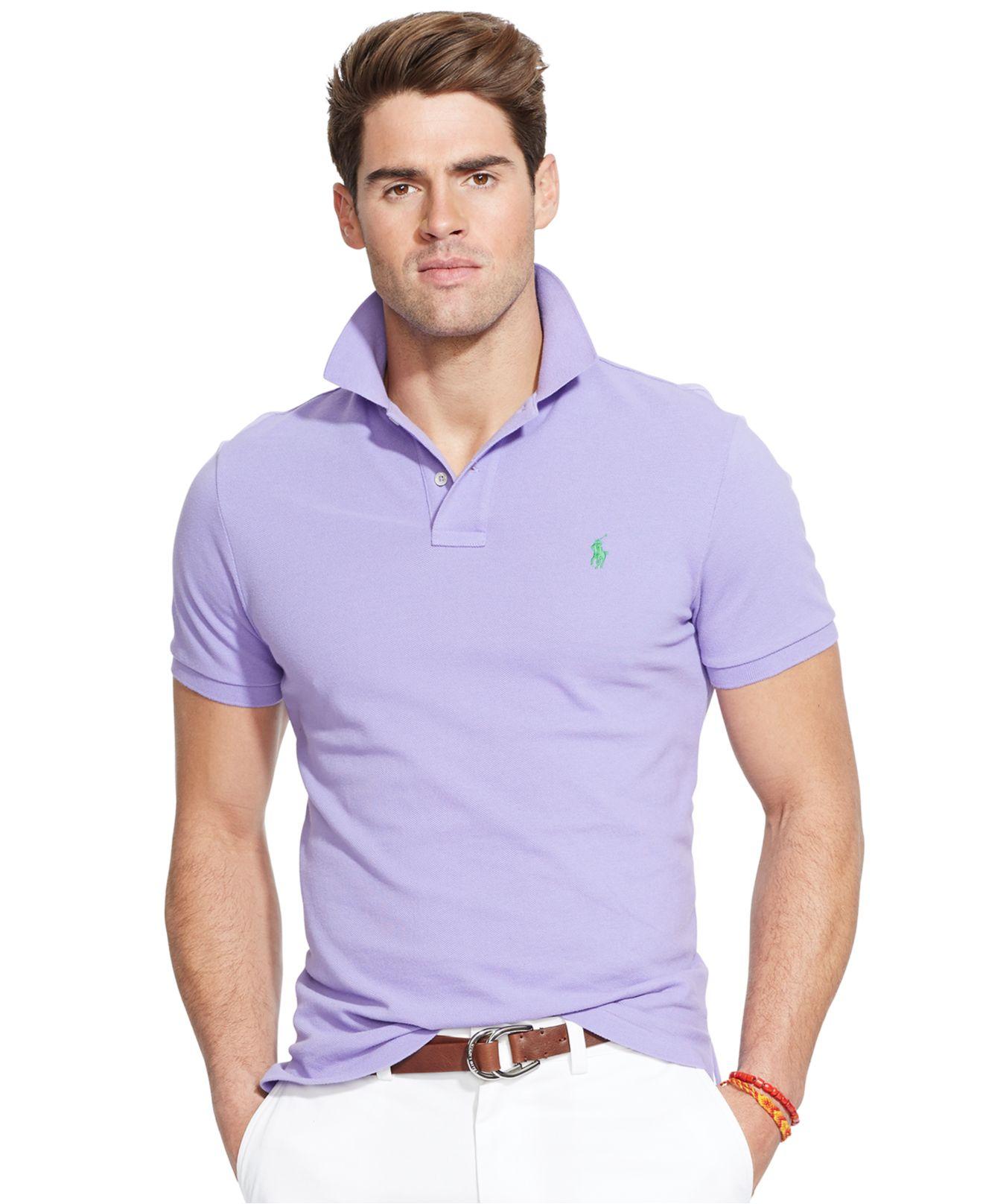 ecb4e7bd ... denmark lyst polo ralph lauren custom fit mesh polo shirt in purple for  men e3618 cf080