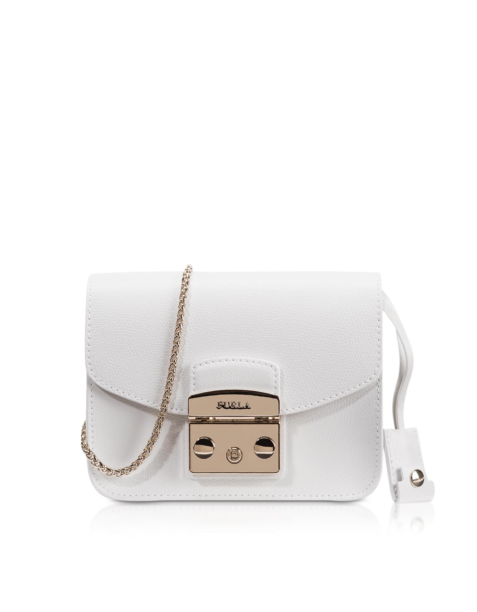 91a5b739cf1a Lyst - Furla Metropolis Chalk Leather Mini Crossbody Bag in White