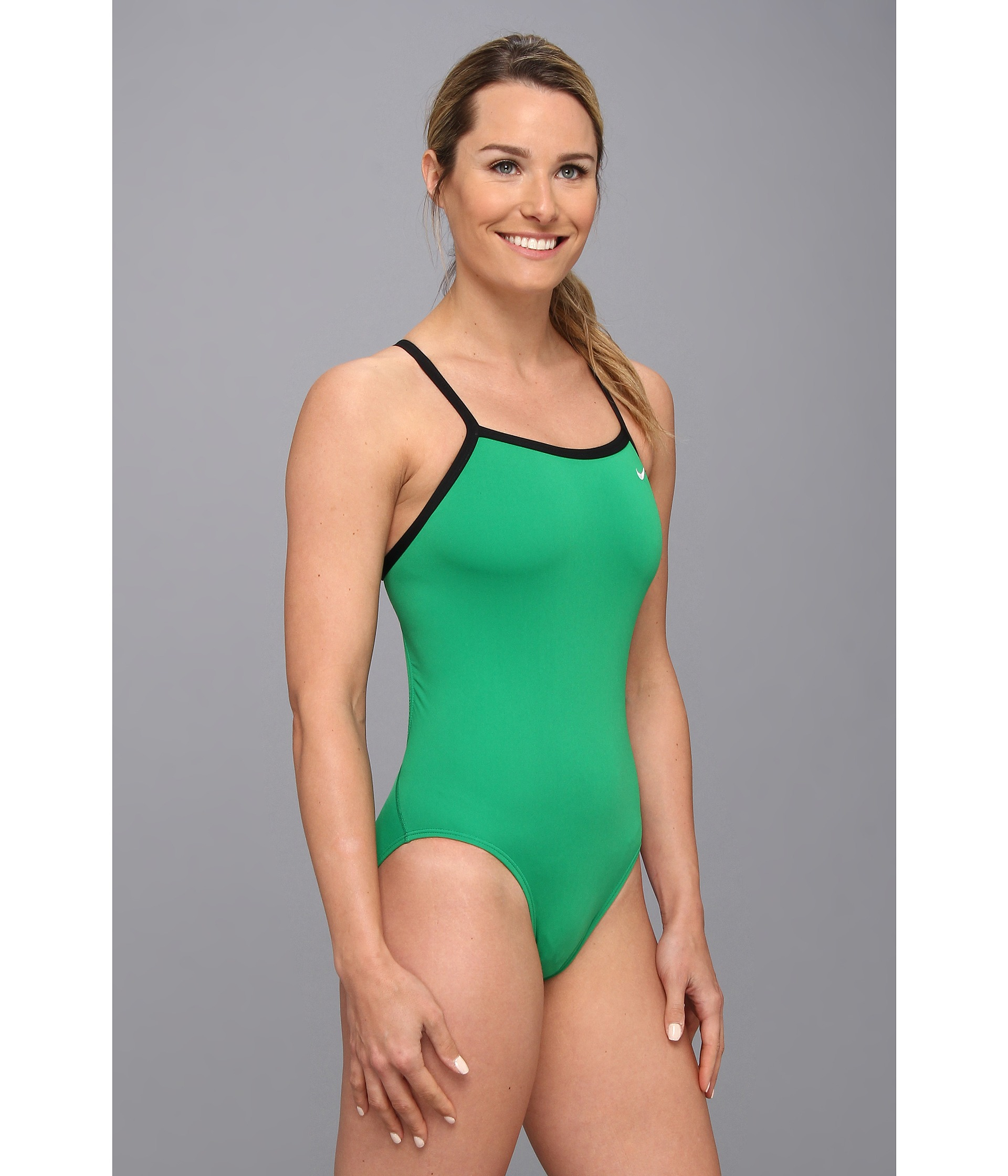 Nike Solid Poly Lingerie Tank One Piece in Green